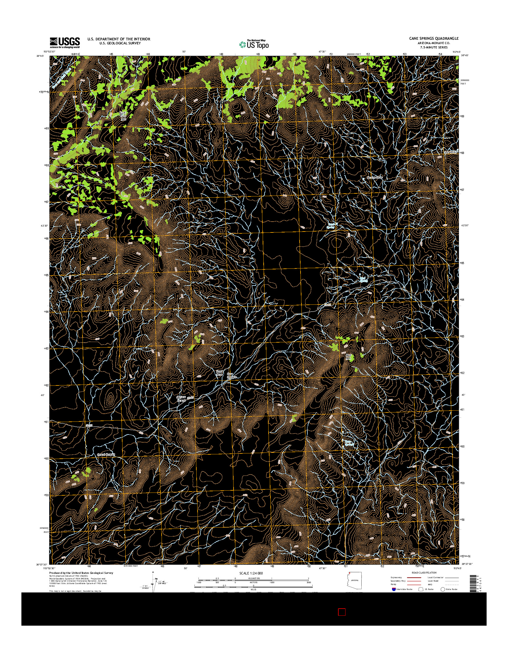 USGS US TOPO 7.5-MINUTE MAP FOR CANE SPRINGS, AZ 2014