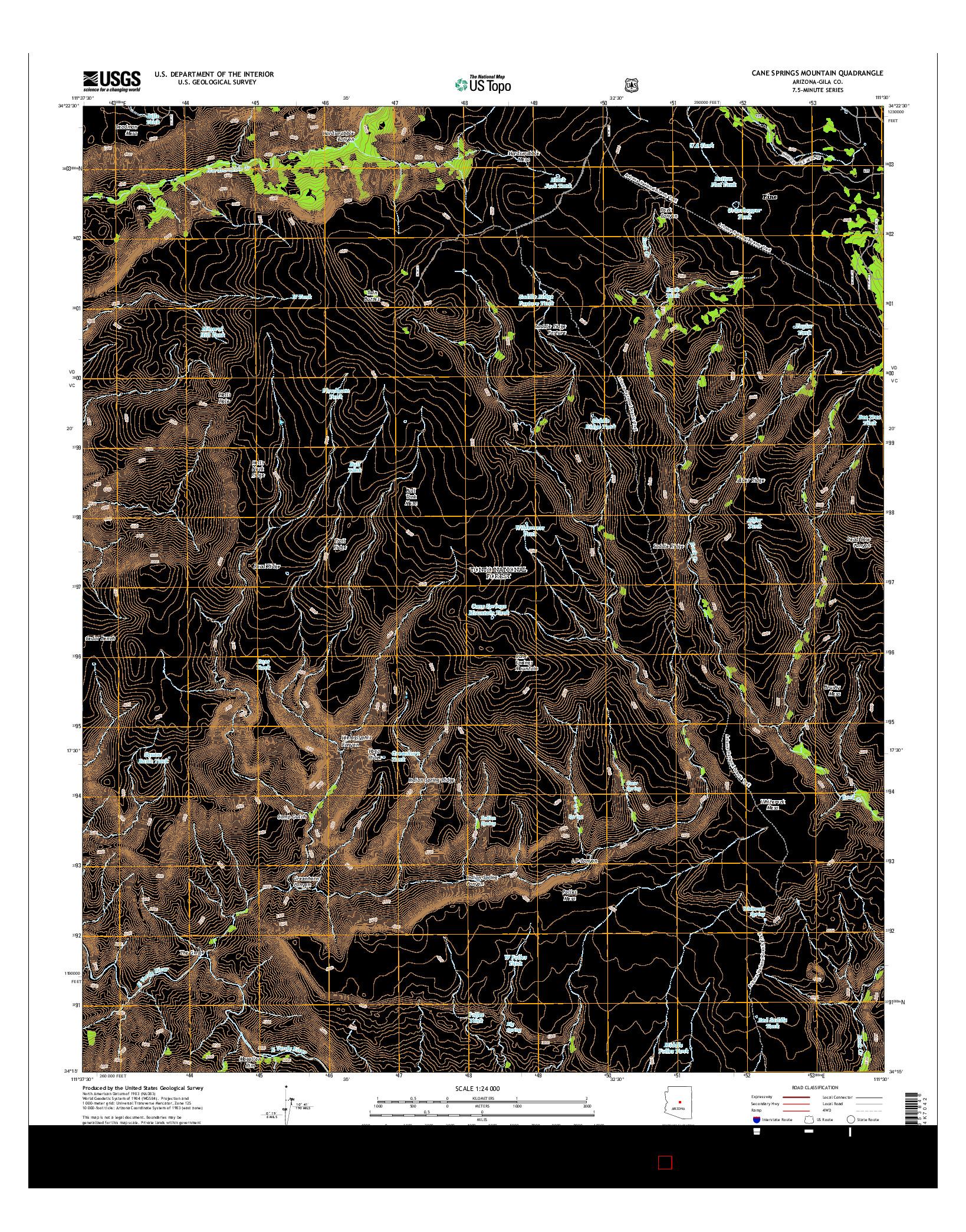 USGS US TOPO 7.5-MINUTE MAP FOR CANE SPRINGS MOUNTAIN, AZ 2014