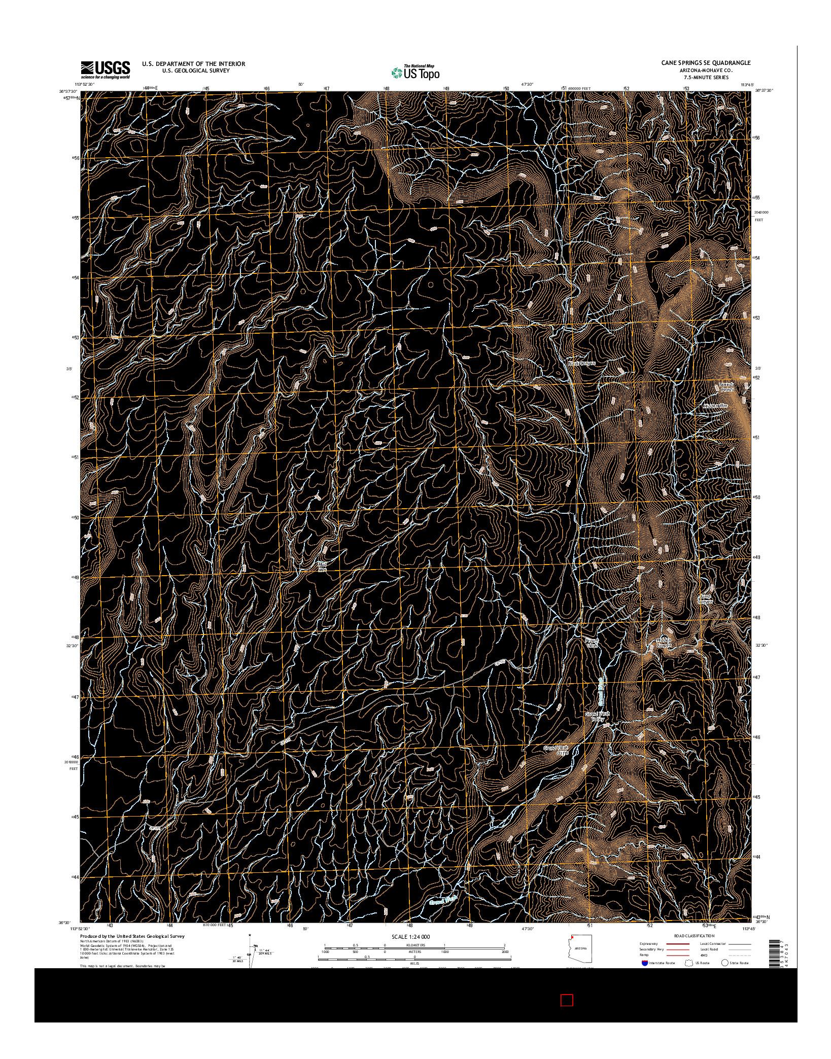 USGS US TOPO 7.5-MINUTE MAP FOR CANE SPRINGS SE, AZ 2014