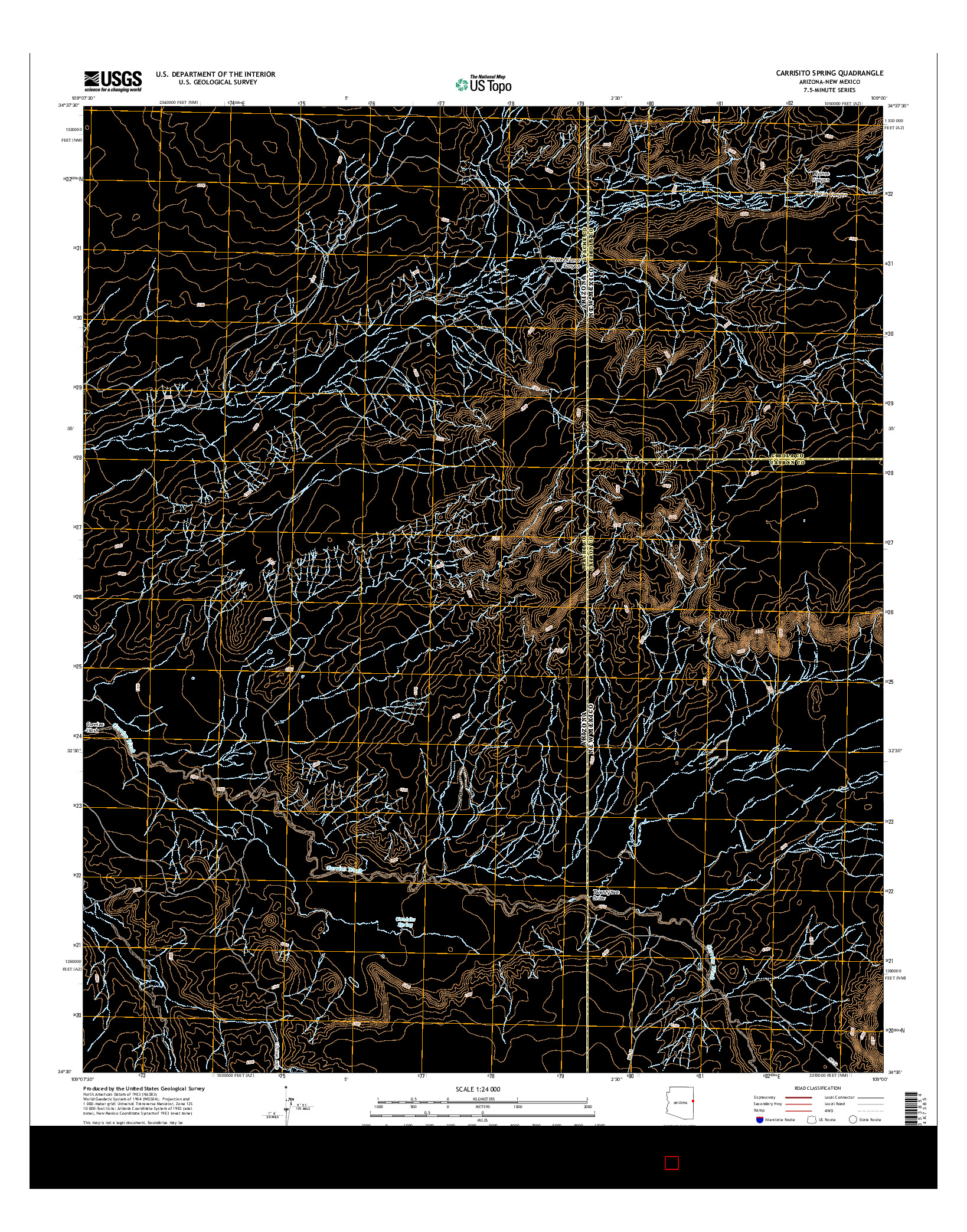 USGS US TOPO 7.5-MINUTE MAP FOR CARRISITO SPRING, AZ-NM 2014