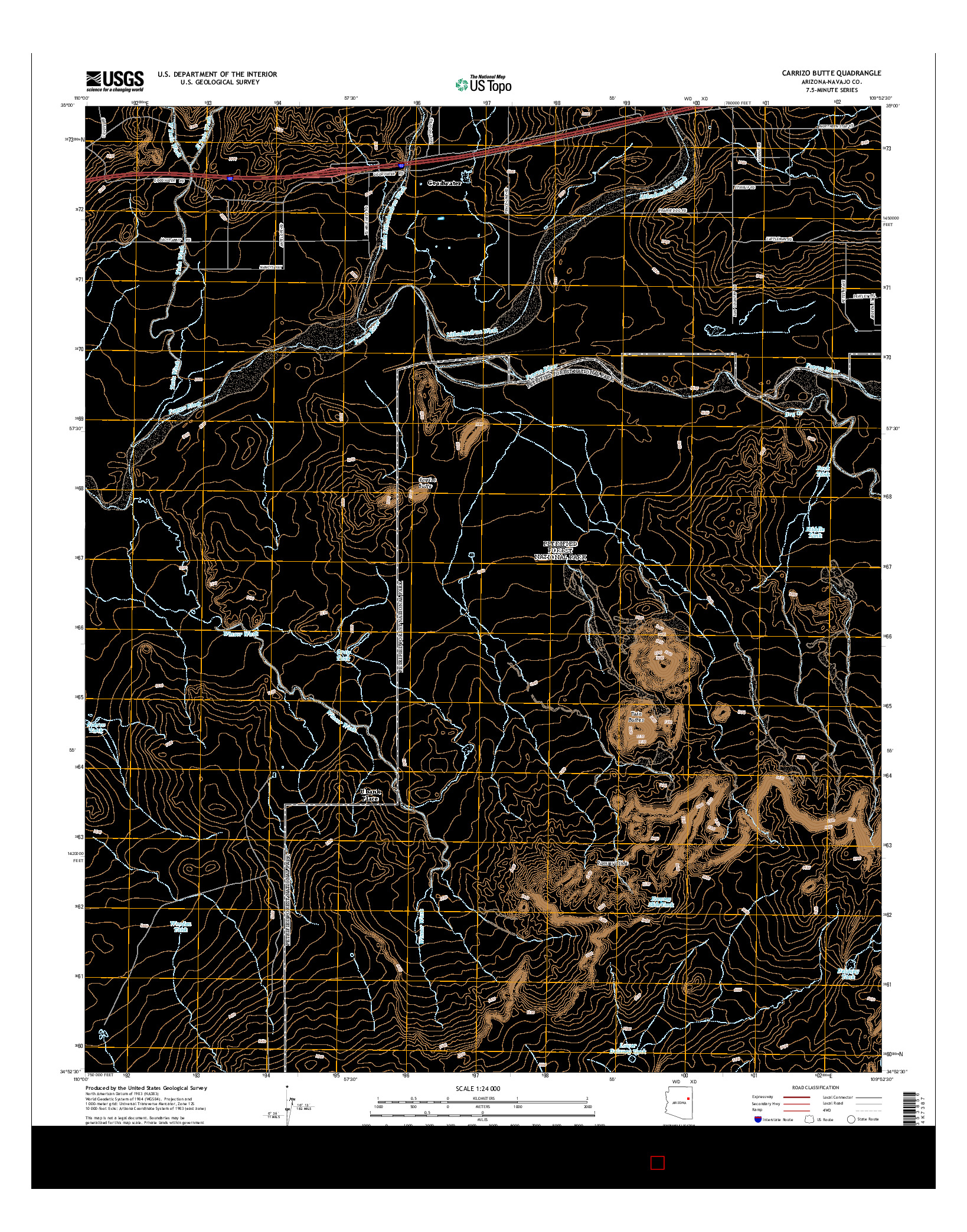 USGS US TOPO 7.5-MINUTE MAP FOR CARRIZO BUTTE, AZ 2014
