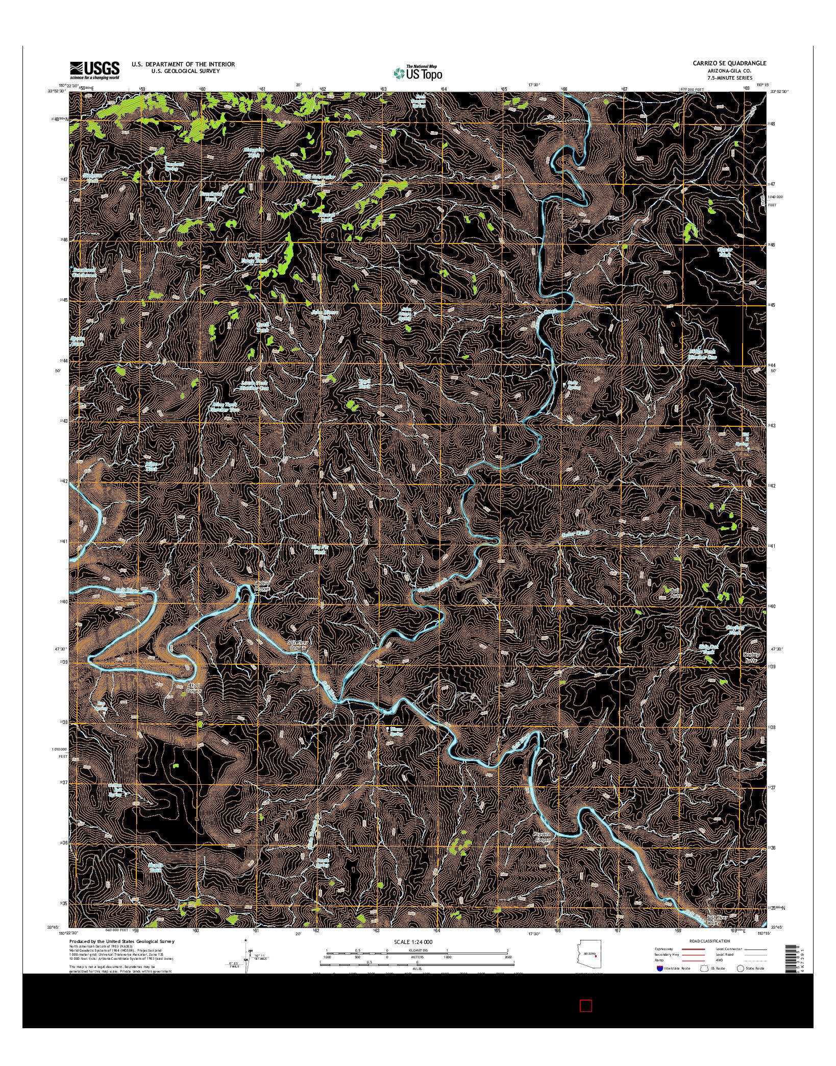 USGS US TOPO 7.5-MINUTE MAP FOR CARRIZO SE, AZ 2014