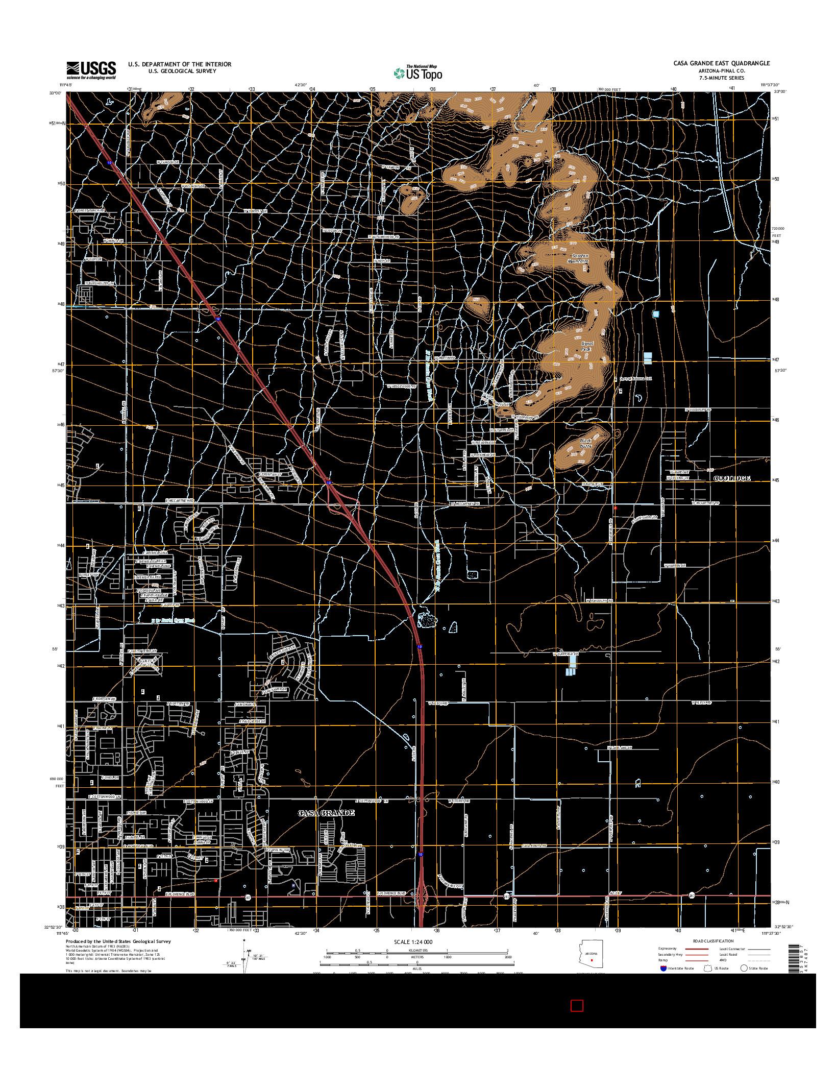 USGS US TOPO 7.5-MINUTE MAP FOR CASA GRANDE EAST, AZ 2014