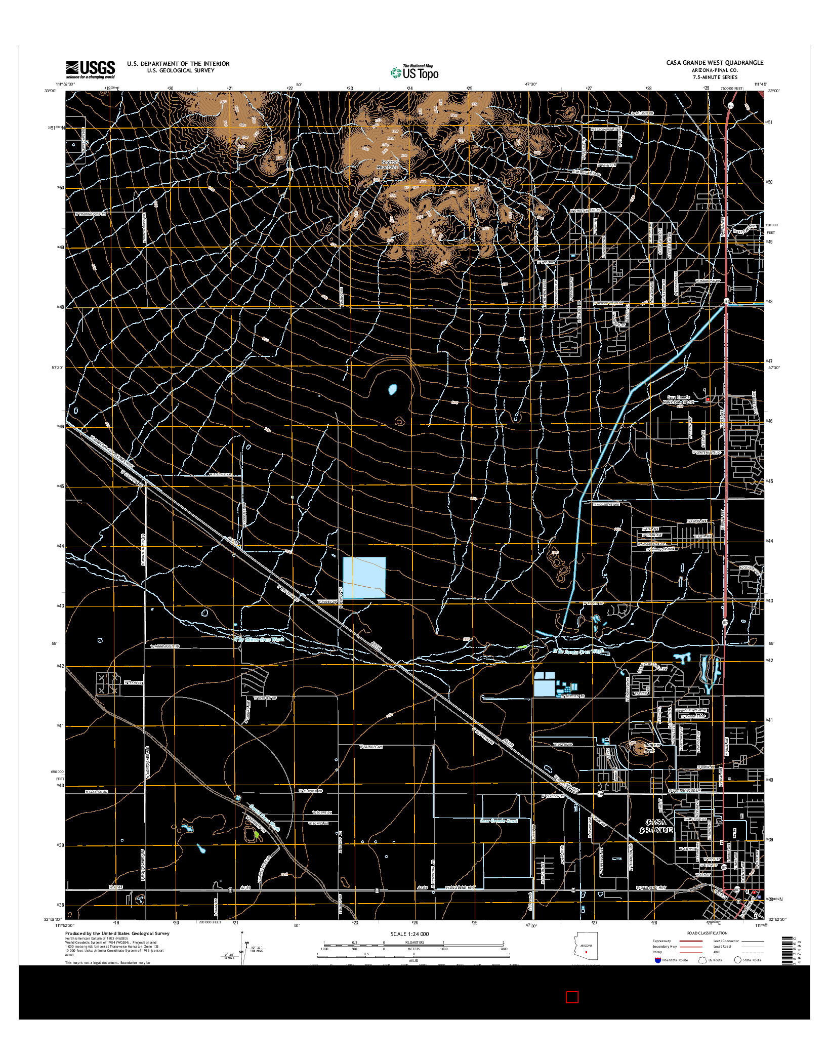 USGS US TOPO 7.5-MINUTE MAP FOR CASA GRANDE WEST, AZ 2014