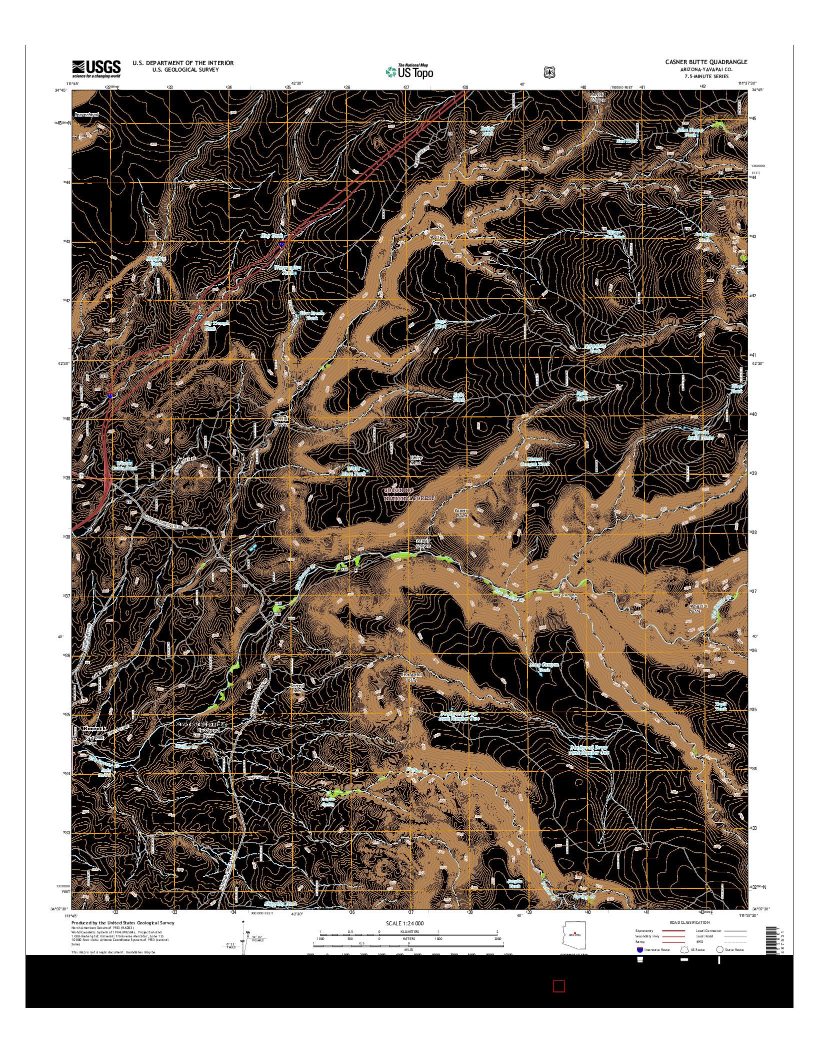 USGS US TOPO 7.5-MINUTE MAP FOR CASNER BUTTE, AZ 2014