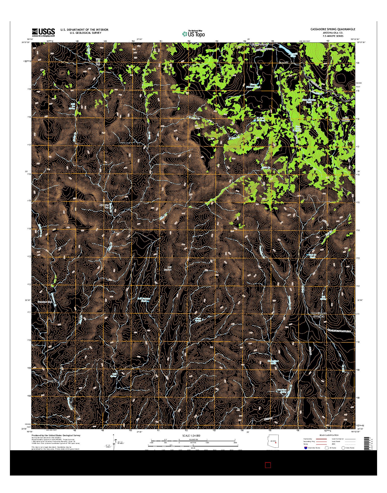 USGS US TOPO 7.5-MINUTE MAP FOR CASSADORE SPRING, AZ 2014