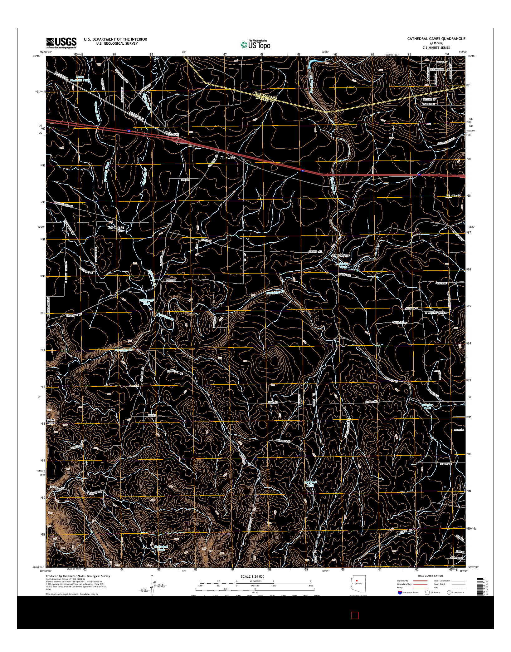 USGS US TOPO 7.5-MINUTE MAP FOR CATHEDRAL CAVES, AZ 2014