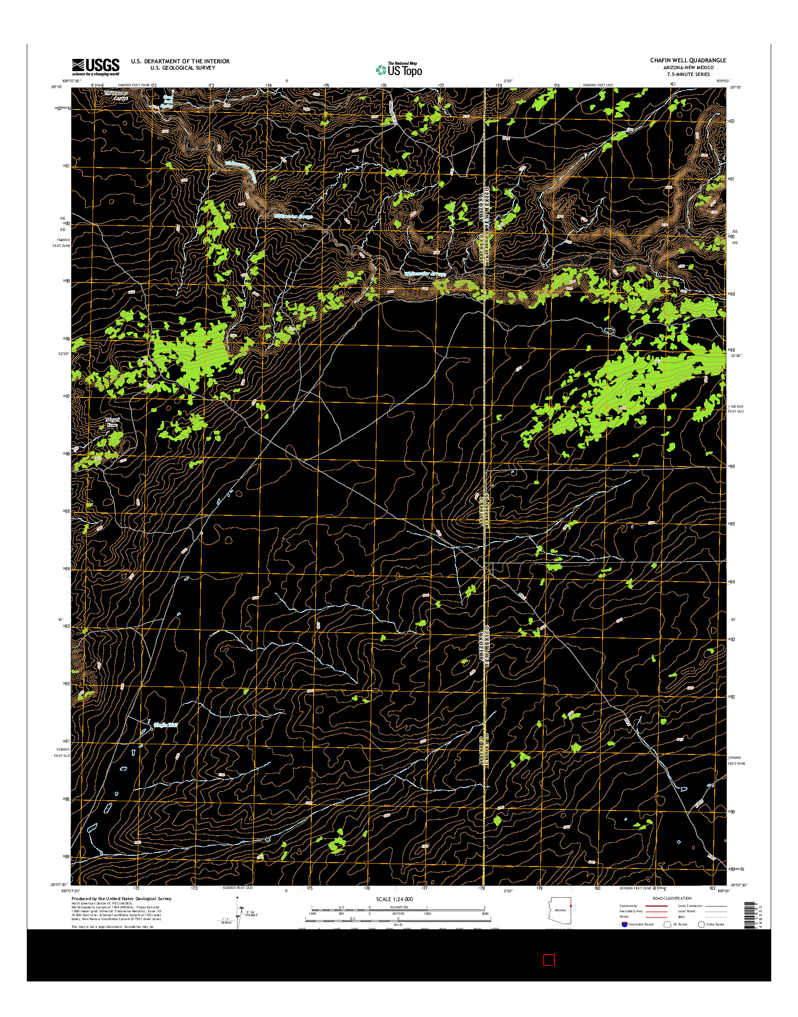USGS US TOPO 7.5-MINUTE MAP FOR CHAFIN WELL, AZ-NM 2014