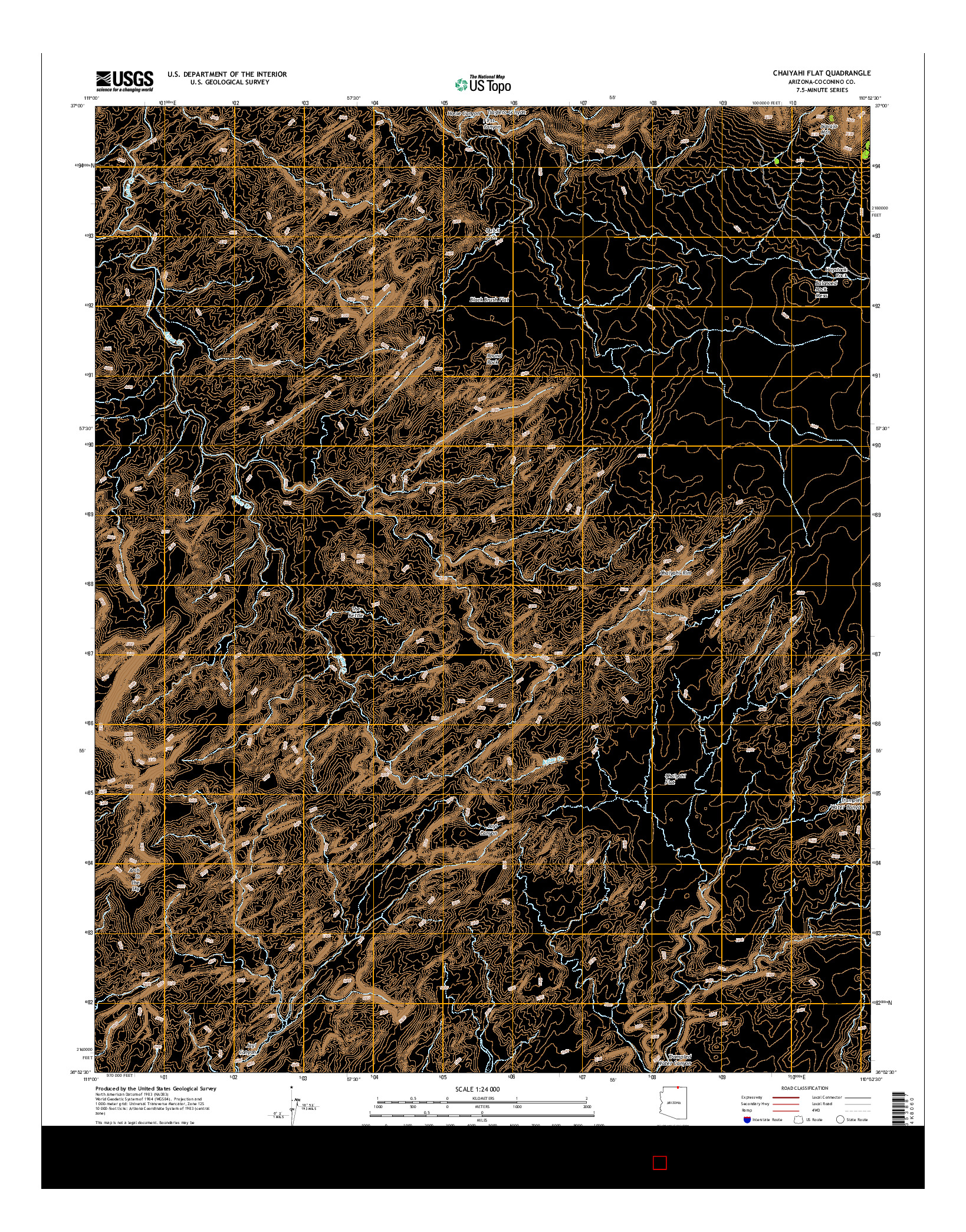 USGS US TOPO 7.5-MINUTE MAP FOR CHAIYAHI FLAT, AZ 2014