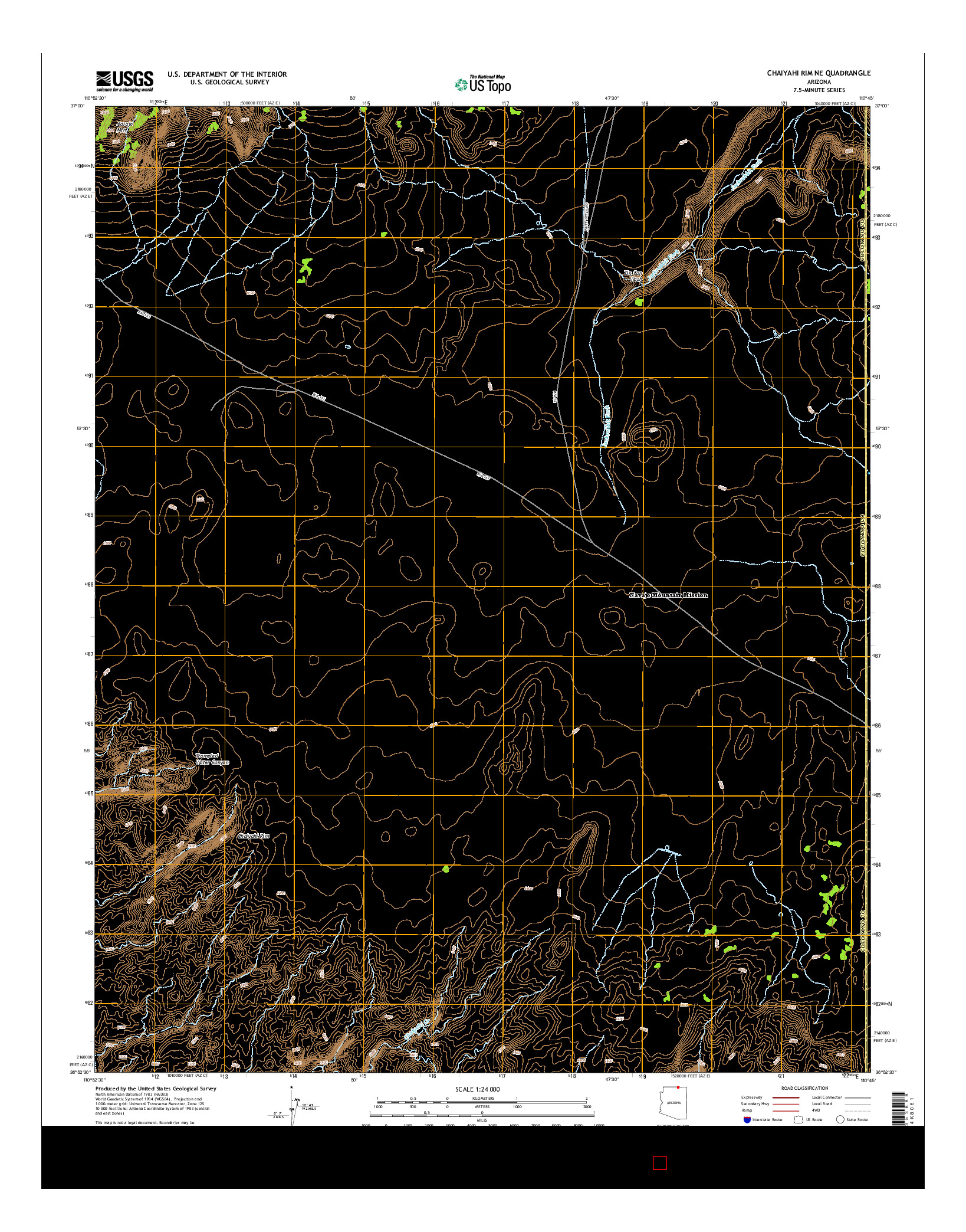 USGS US TOPO 7.5-MINUTE MAP FOR CHAIYAHI RIM NE, AZ 2014