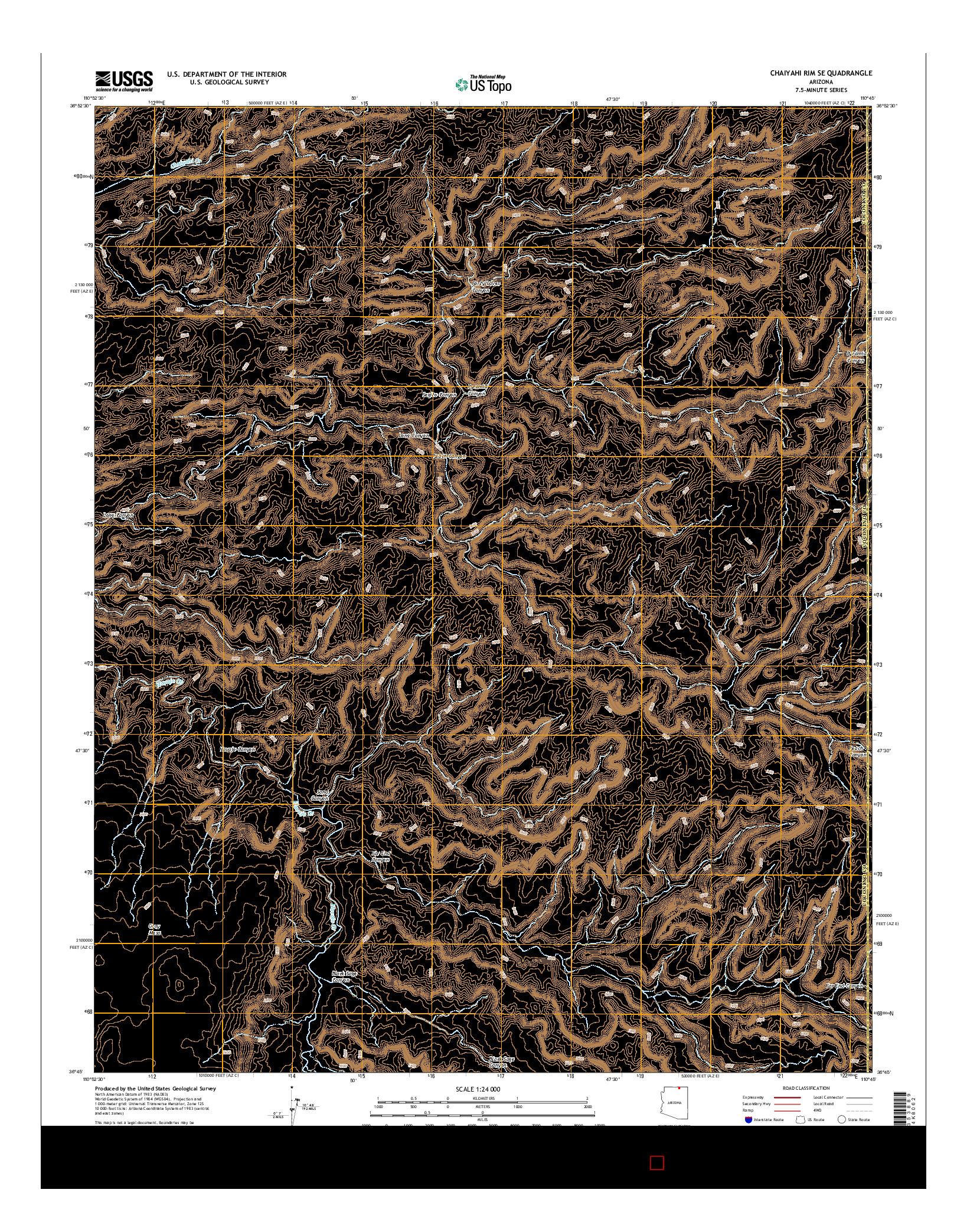 USGS US TOPO 7.5-MINUTE MAP FOR CHAIYAHI RIM SE, AZ 2014