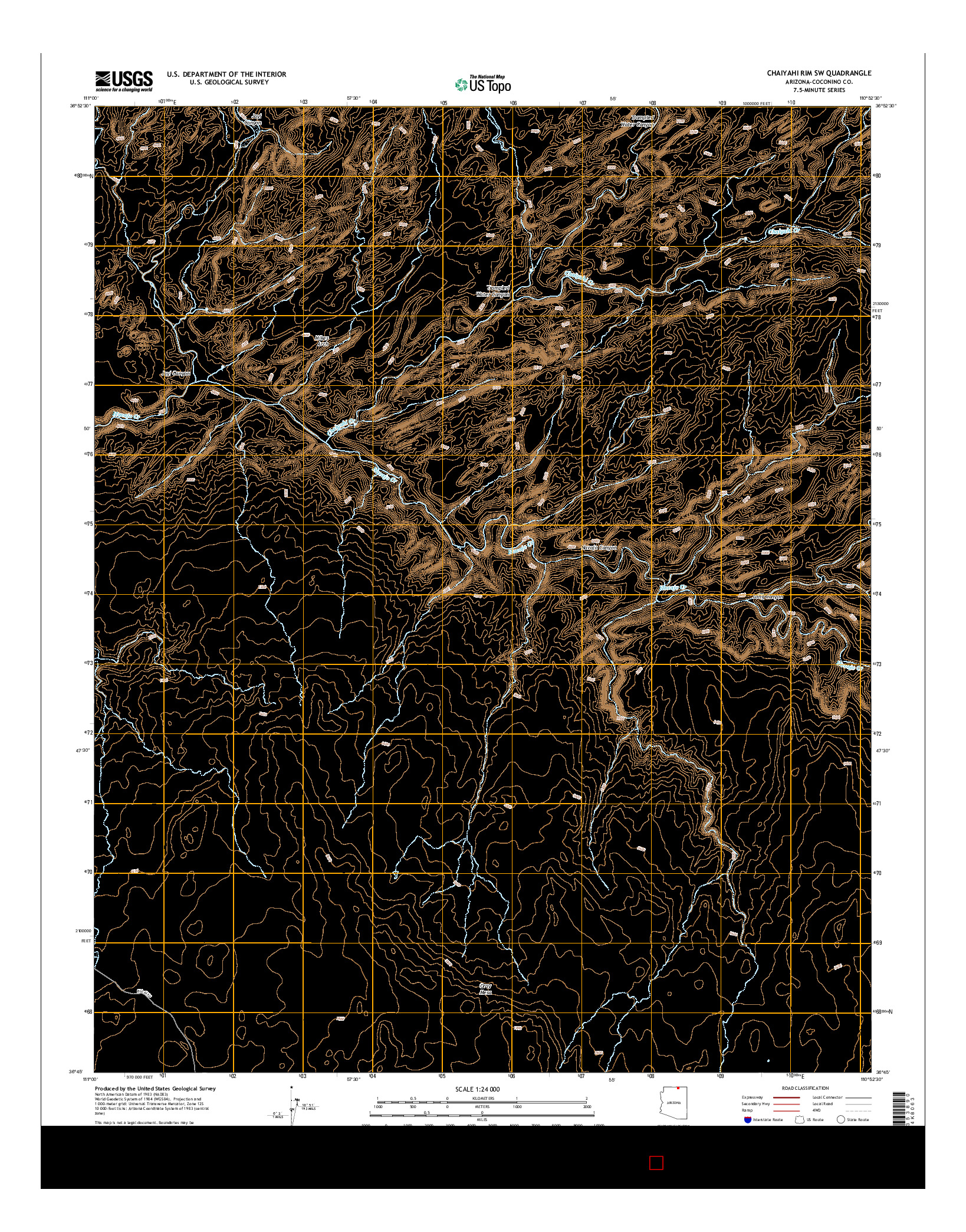 USGS US TOPO 7.5-MINUTE MAP FOR CHAIYAHI RIM SW, AZ 2014