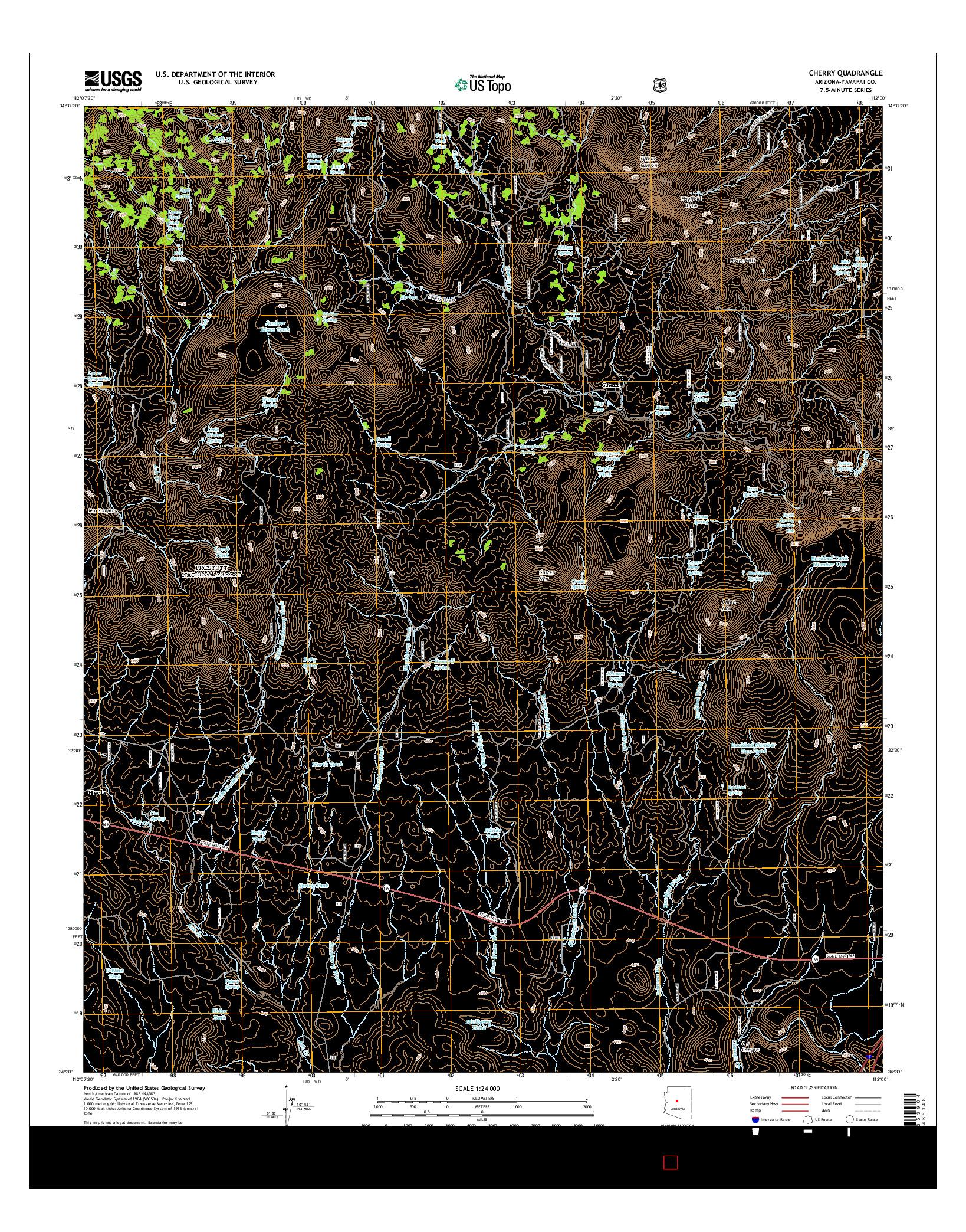 USGS US TOPO 7.5-MINUTE MAP FOR CHERRY, AZ 2014