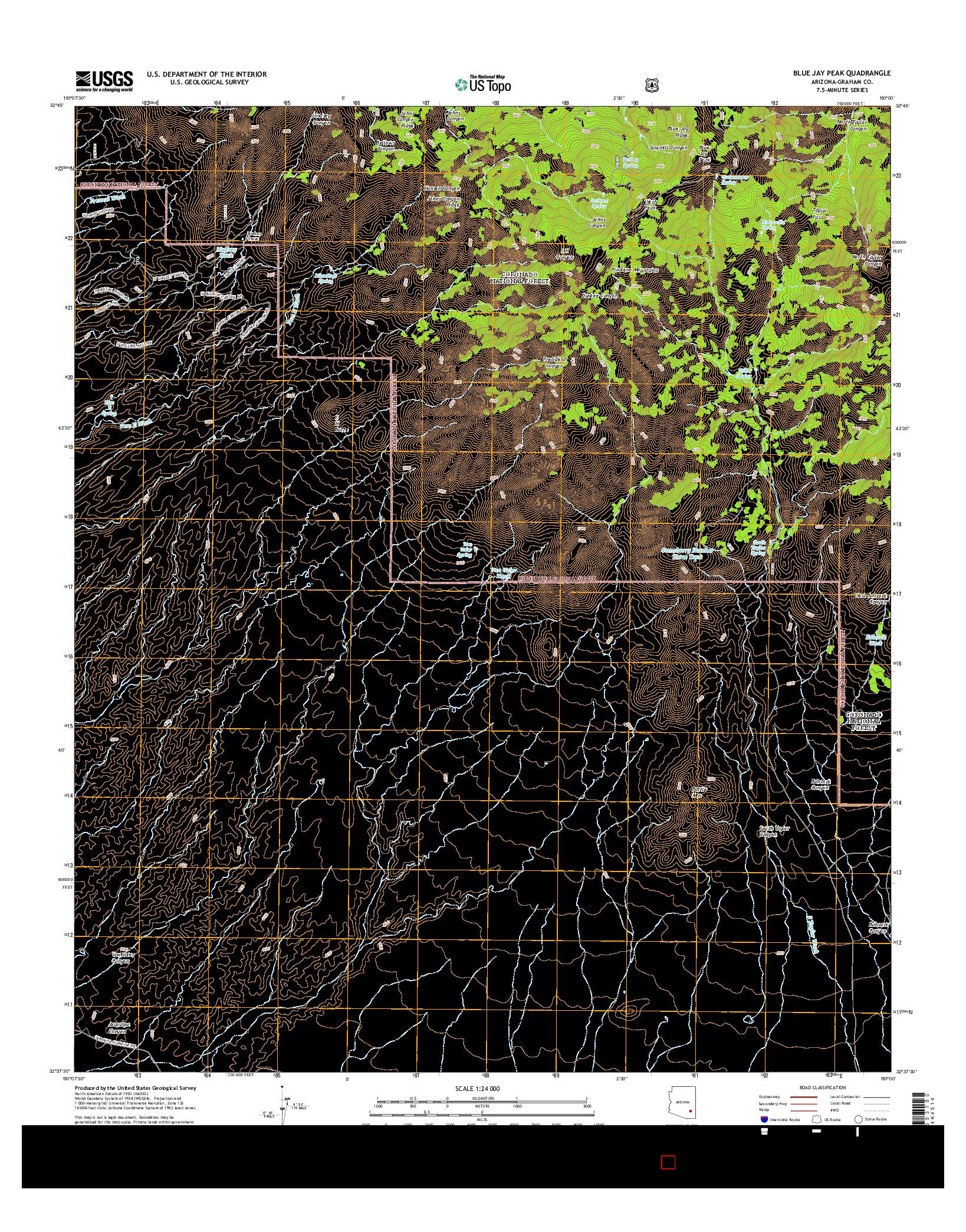 USGS US TOPO 7.5-MINUTE MAP FOR BLUE JAY PEAK, AZ 2014