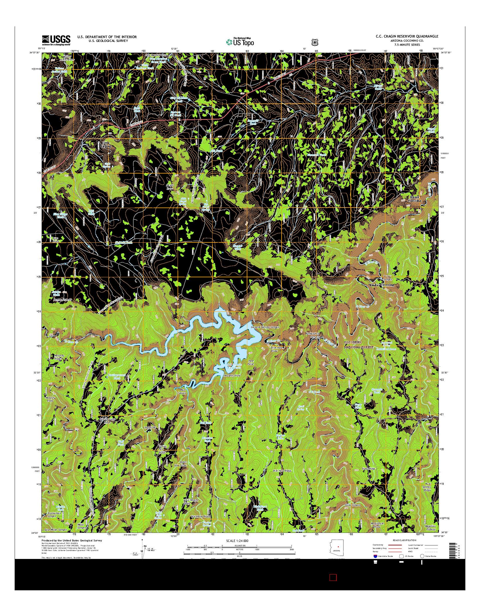 USGS US TOPO 7.5-MINUTE MAP FOR C.C. CRAGIN RESERVOIR, AZ 2014