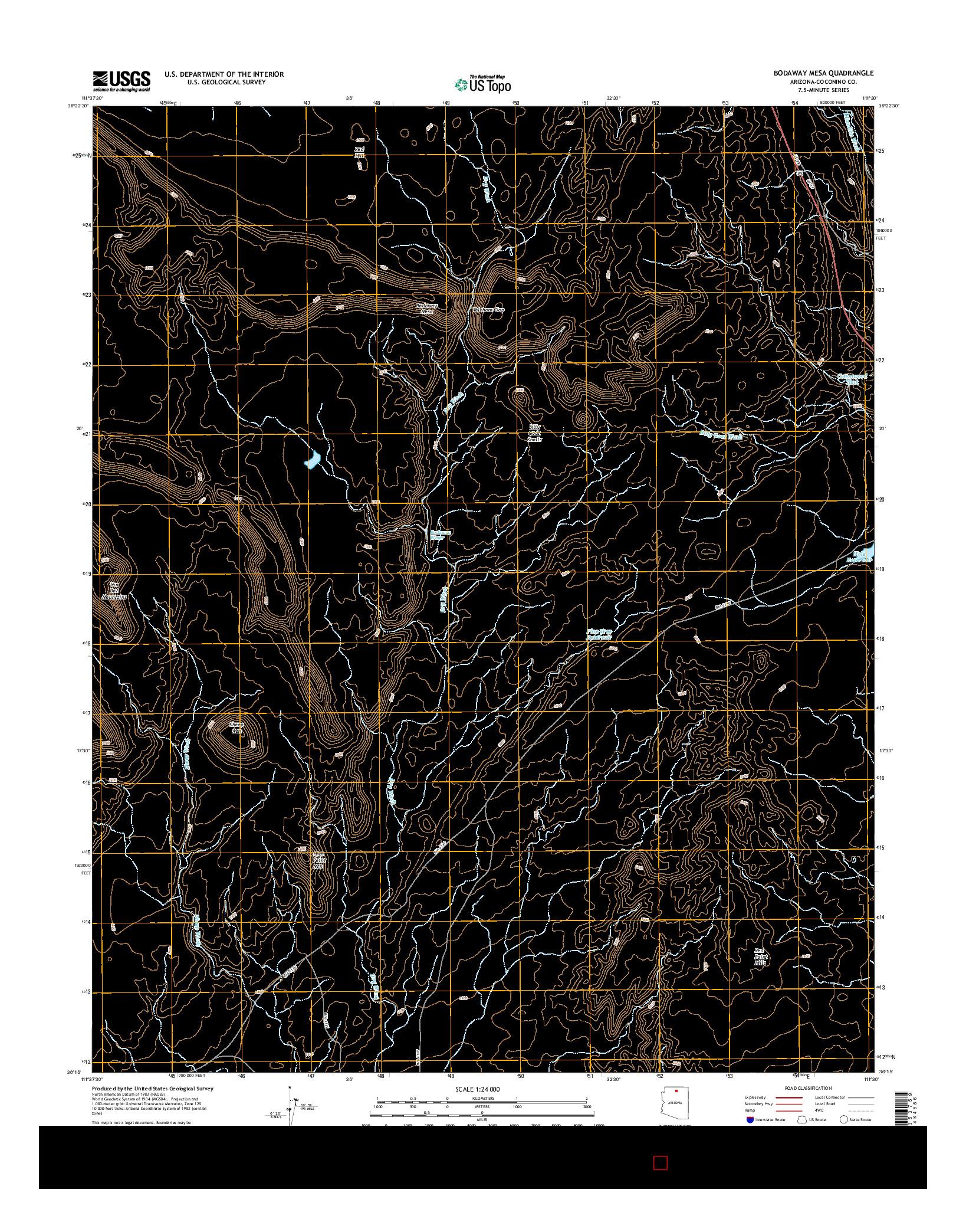 USGS US TOPO 7.5-MINUTE MAP FOR BODAWAY MESA, AZ 2014