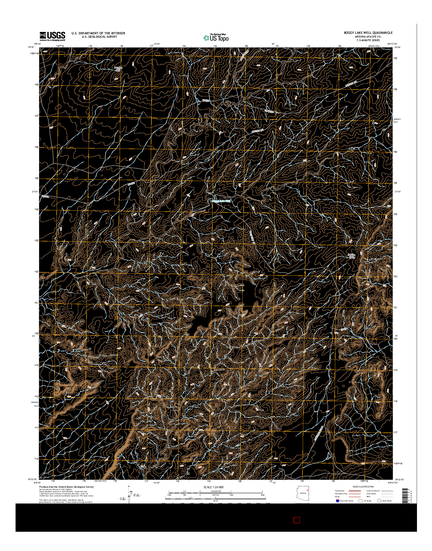 USGS US TOPO 7.5-MINUTE MAP FOR BOGGY LAKE WELL, AZ 2014