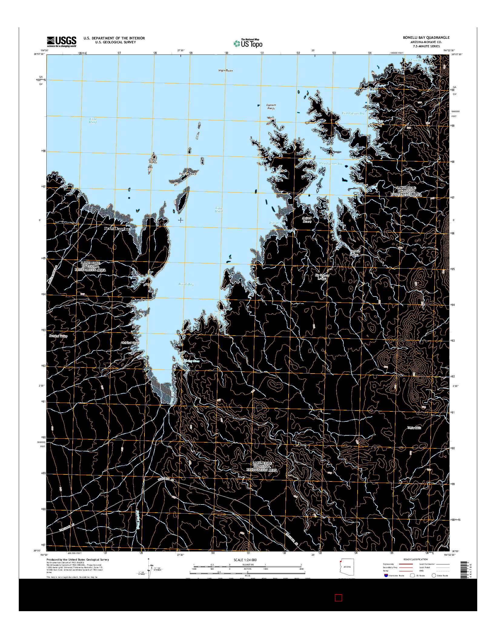 USGS US TOPO 7.5-MINUTE MAP FOR BONELLI BAY, AZ 2014