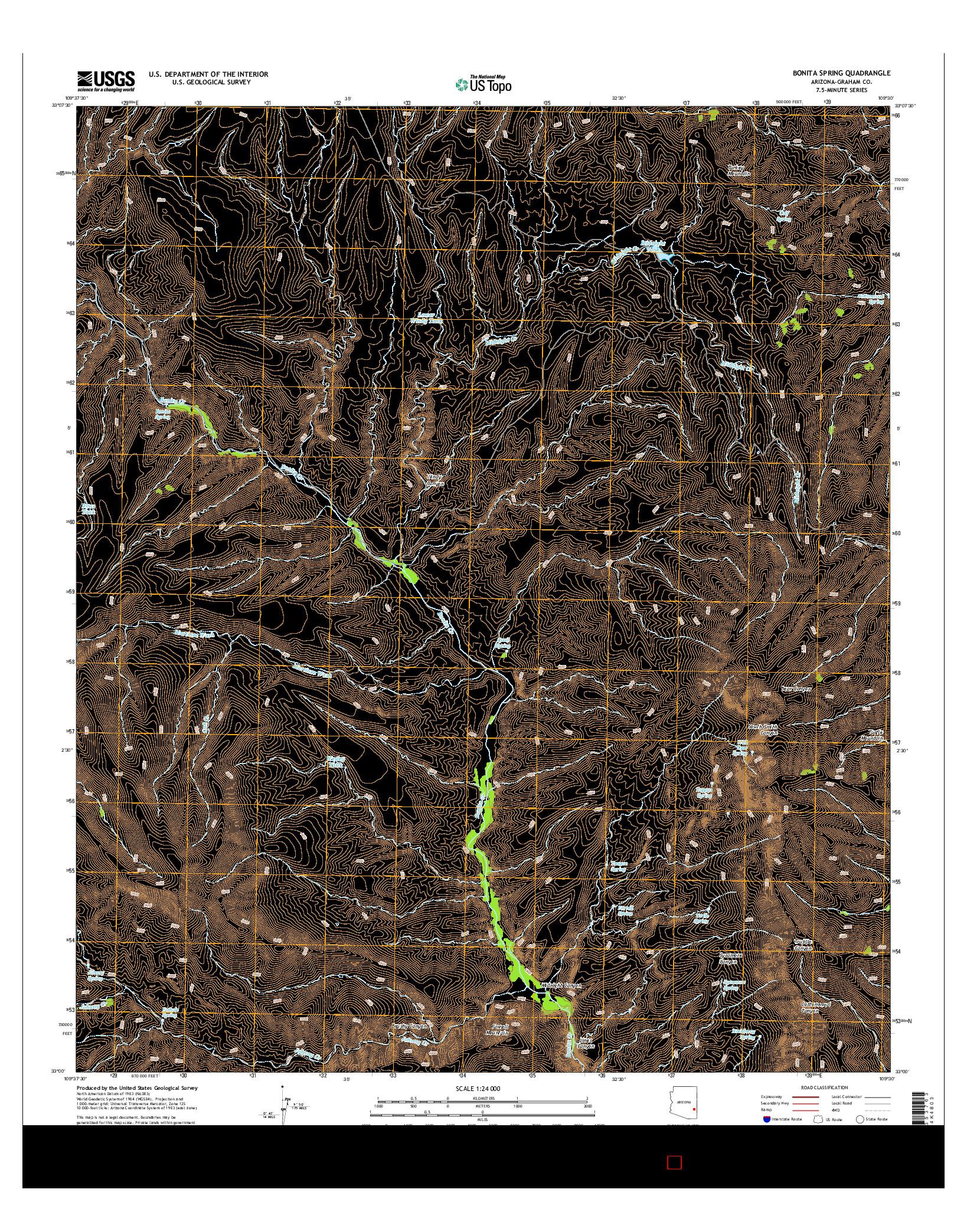 USGS US TOPO 7.5-MINUTE MAP FOR BONITA SPRING, AZ 2014