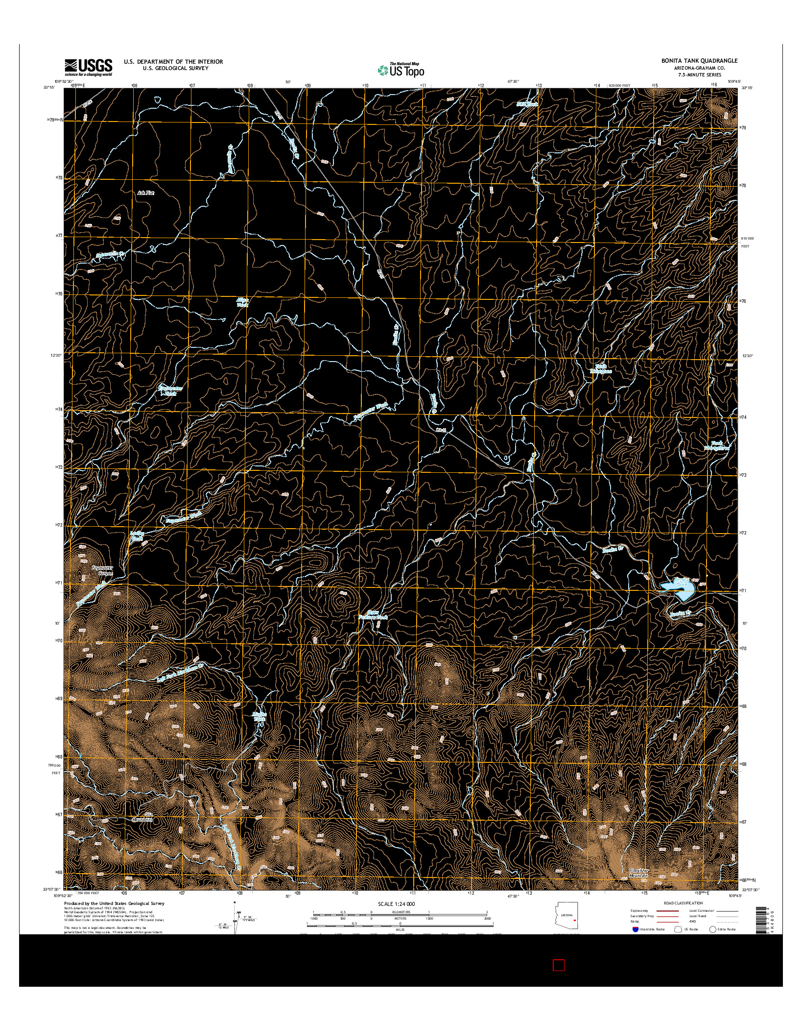 USGS US TOPO 7.5-MINUTE MAP FOR BONITA TANK, AZ 2014