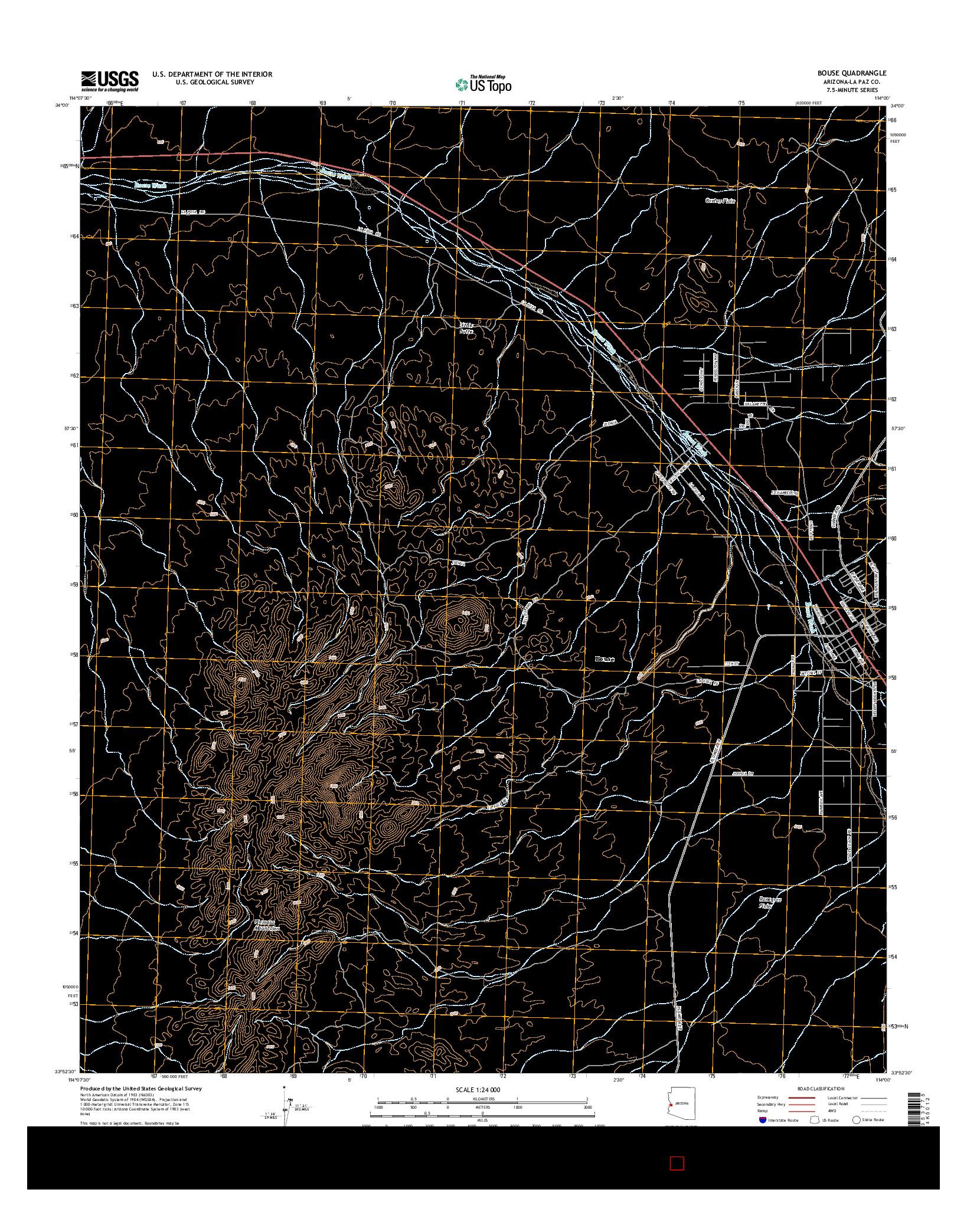 USGS US TOPO 7.5-MINUTE MAP FOR BOUSE, AZ 2014