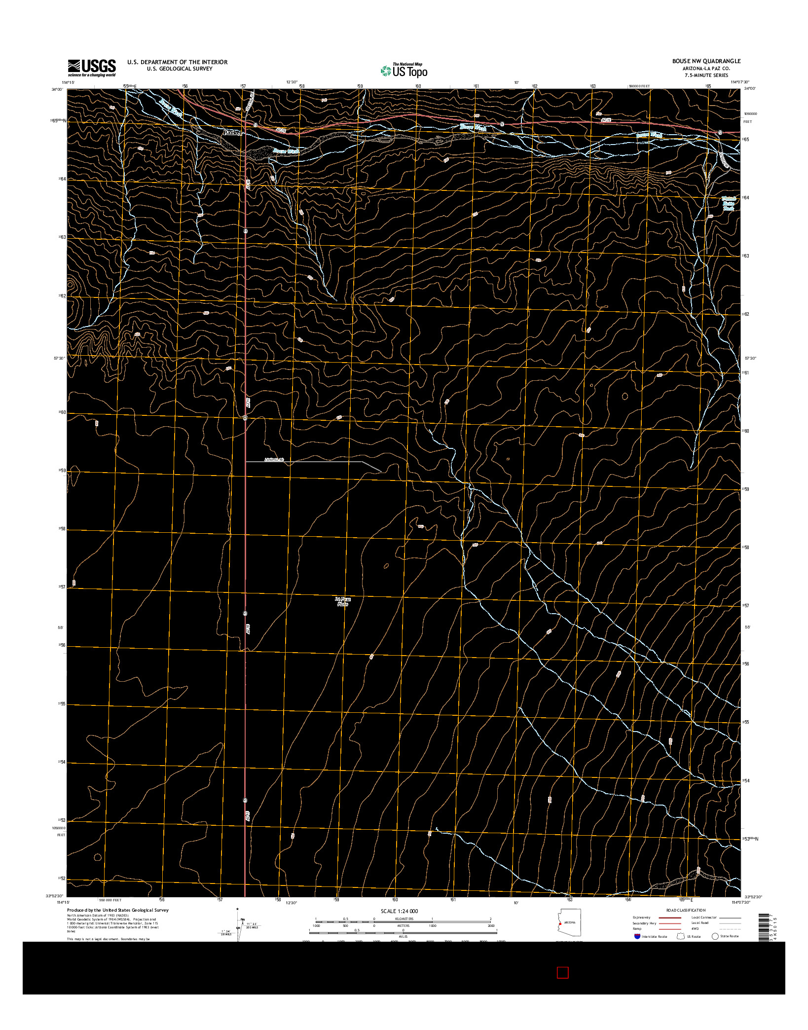 USGS US TOPO 7.5-MINUTE MAP FOR BOUSE NW, AZ 2014