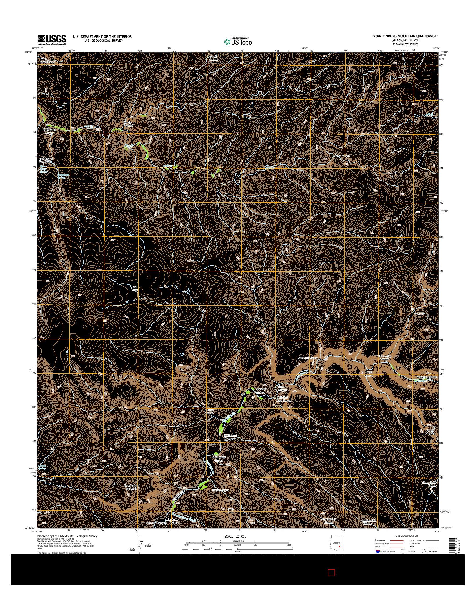 USGS US TOPO 7.5-MINUTE MAP FOR BRANDENBURG MOUNTAIN, AZ 2014