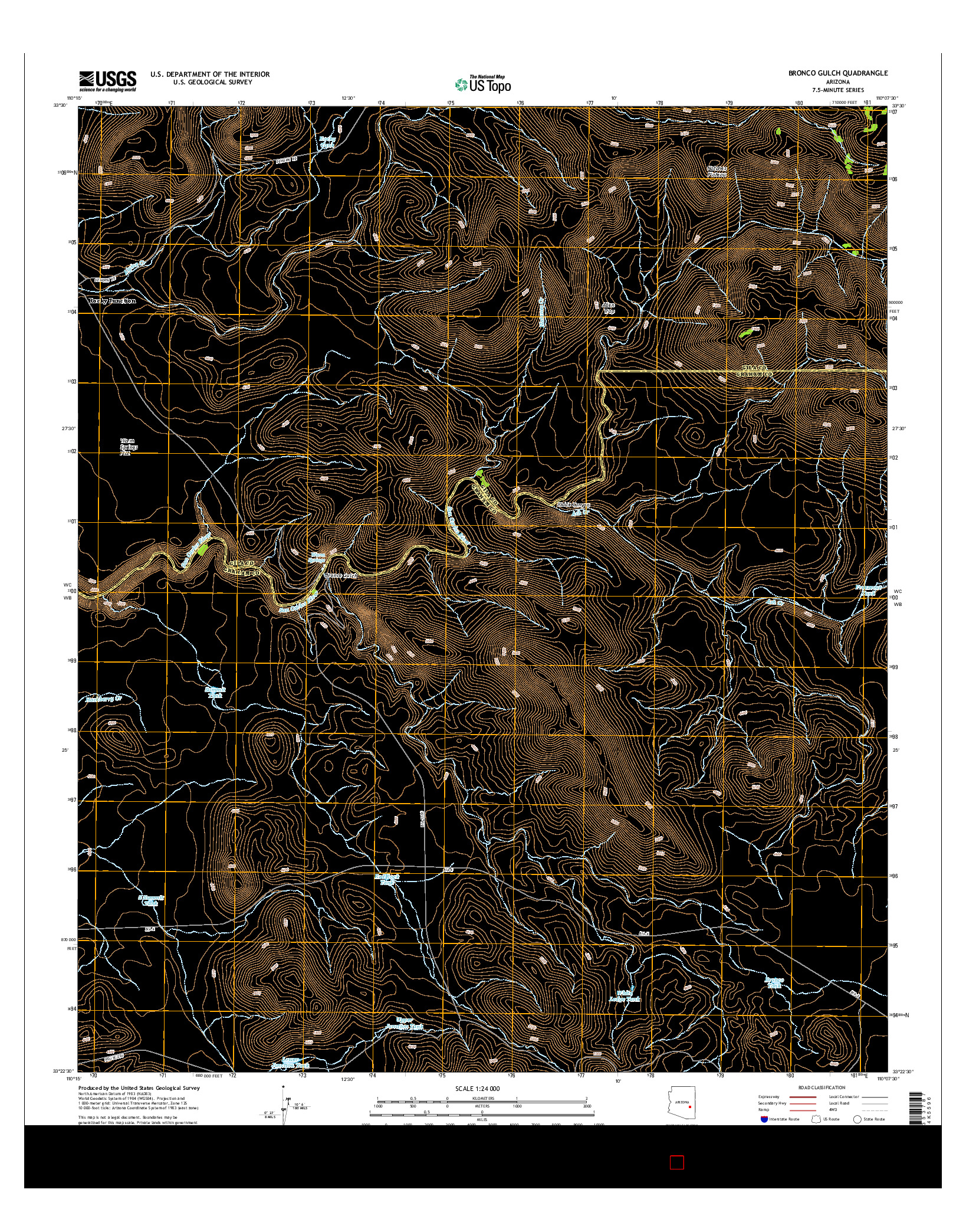 USGS US TOPO 7.5-MINUTE MAP FOR BRONCO GULCH, AZ 2014
