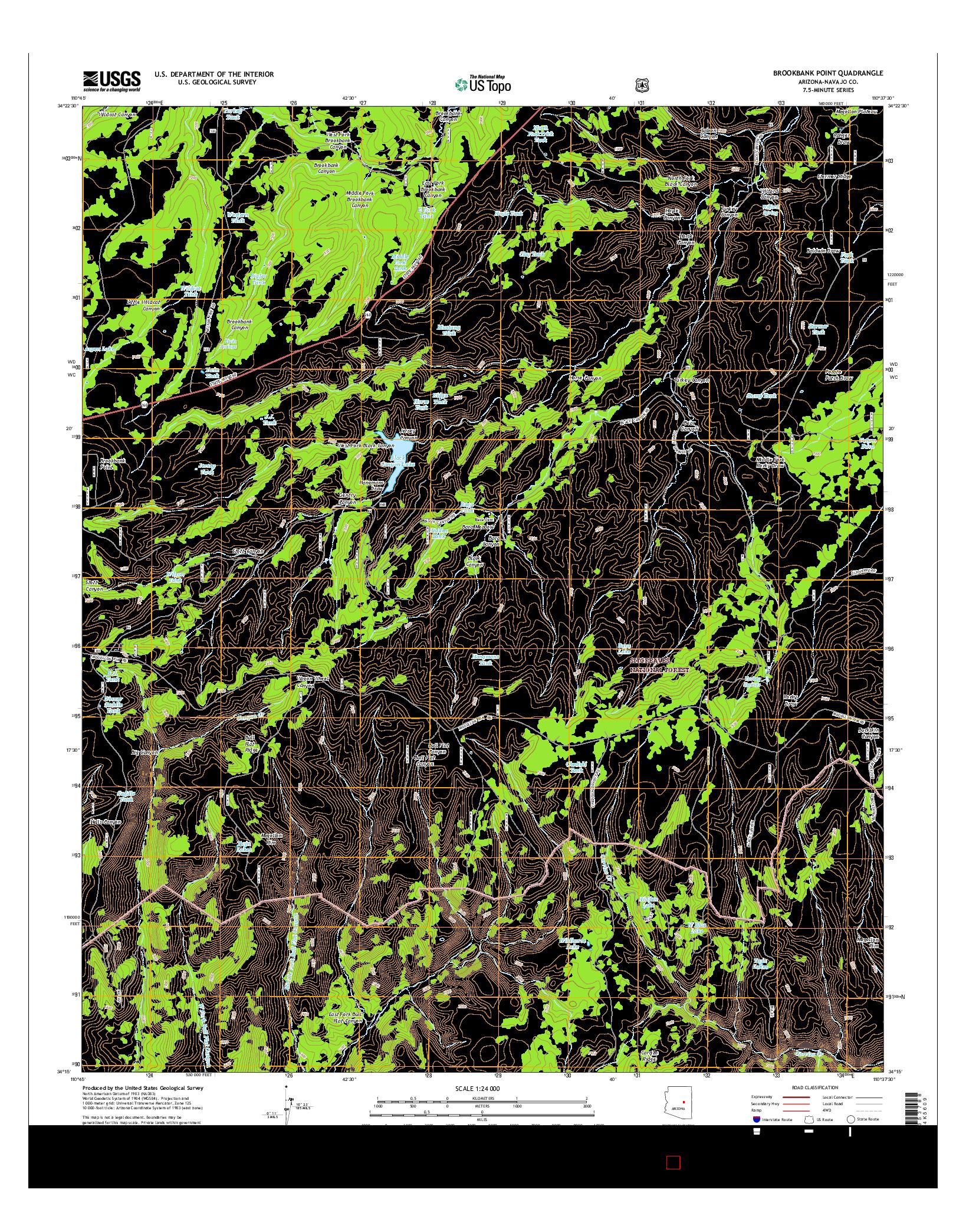 USGS US TOPO 7.5-MINUTE MAP FOR BROOKBANK POINT, AZ 2014