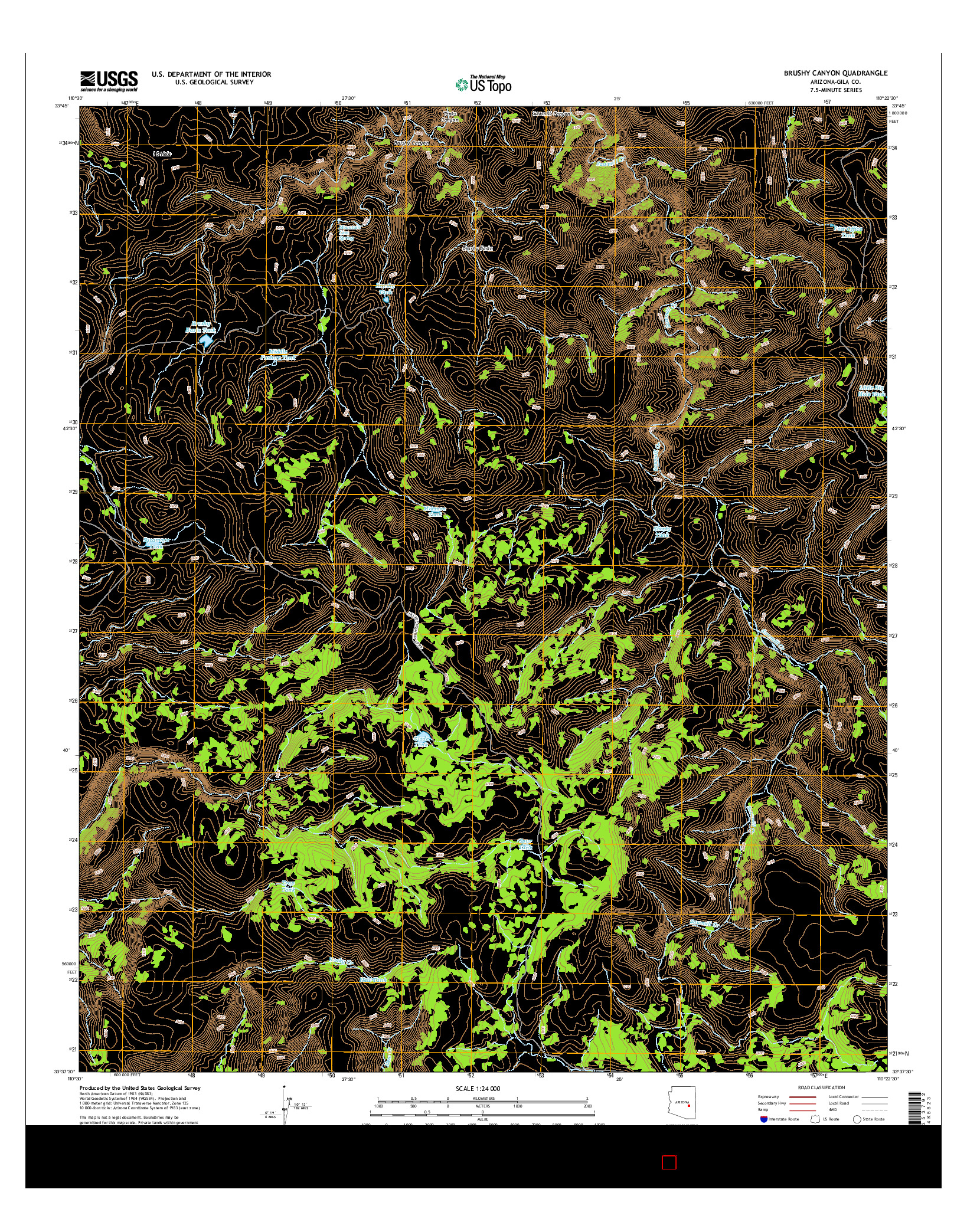 USGS US TOPO 7.5-MINUTE MAP FOR BRUSHY CANYON, AZ 2014