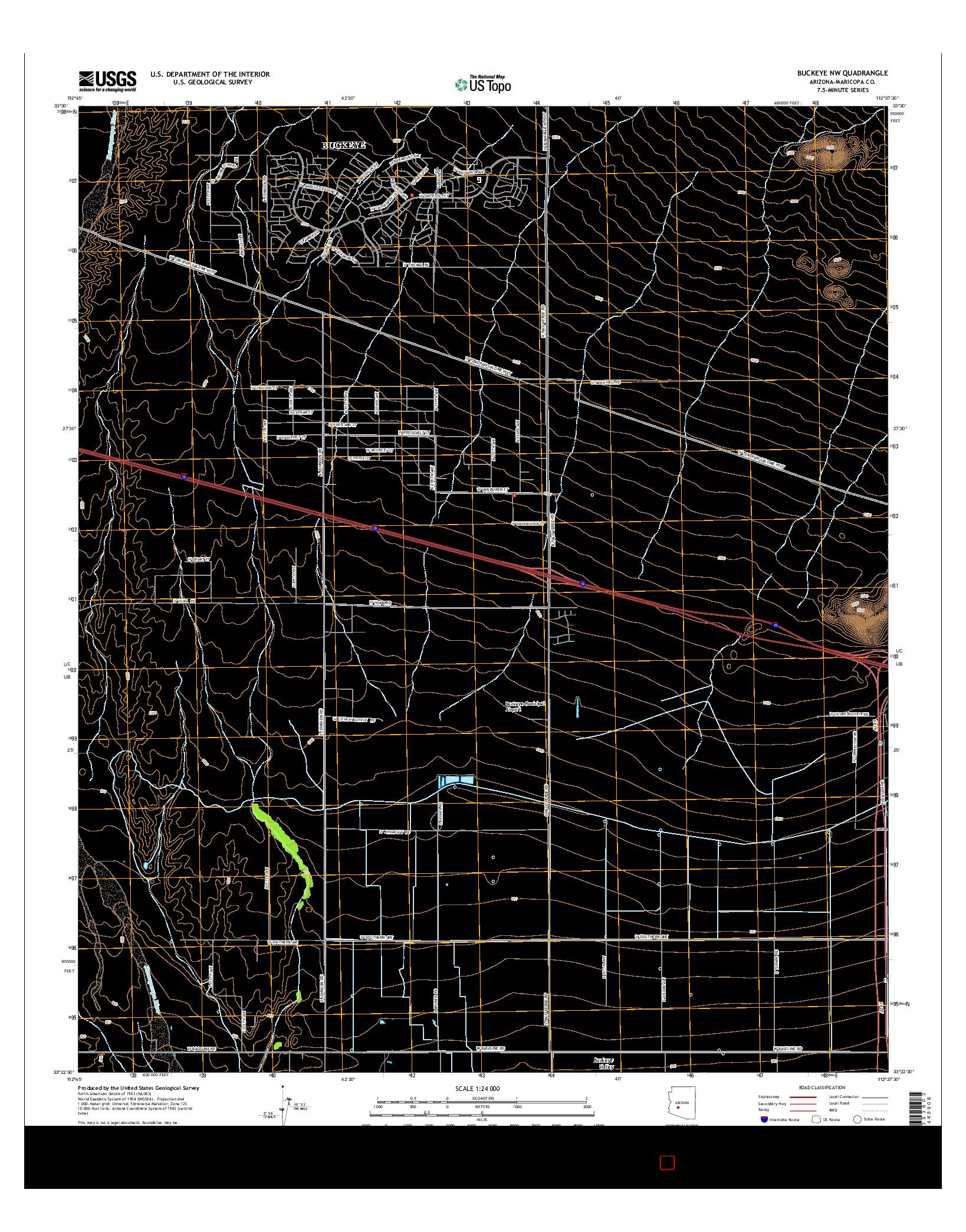 USGS US TOPO 7.5-MINUTE MAP FOR BUCKEYE NW, AZ 2014