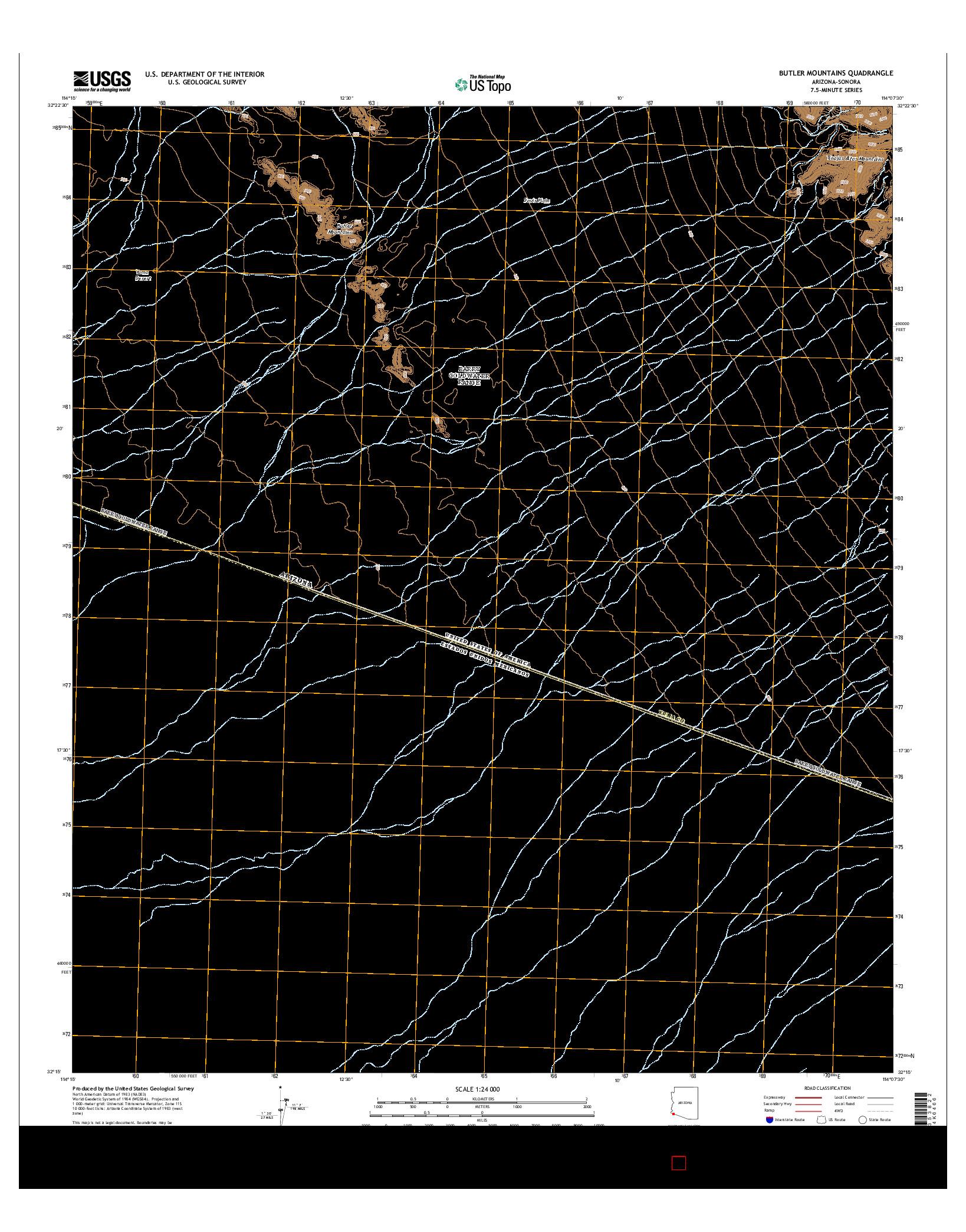 USGS US TOPO 7.5-MINUTE MAP FOR BUTLER MOUNTAINS, AZ-SON 2014