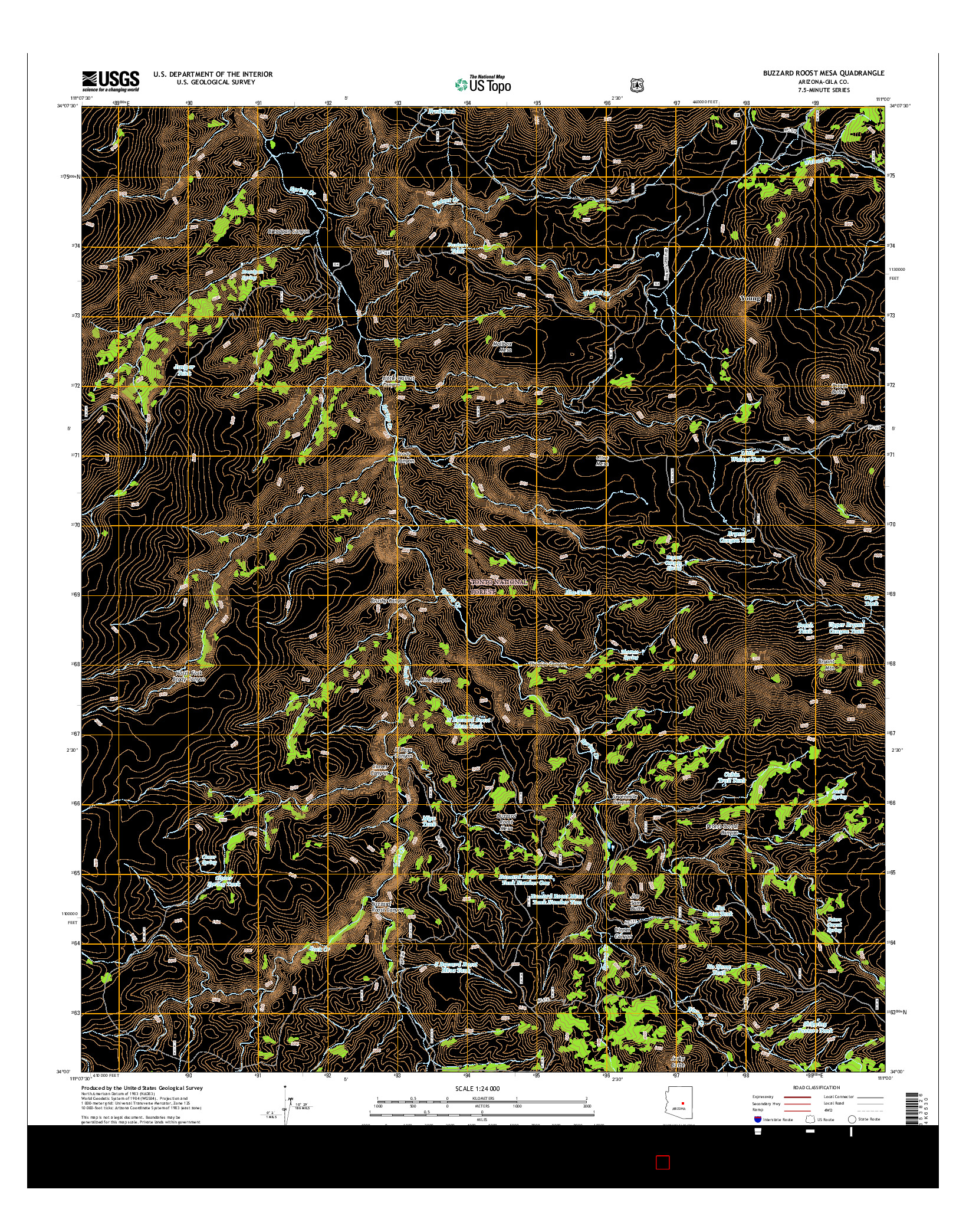 USGS US TOPO 7.5-MINUTE MAP FOR BUZZARD ROOST MESA, AZ 2014