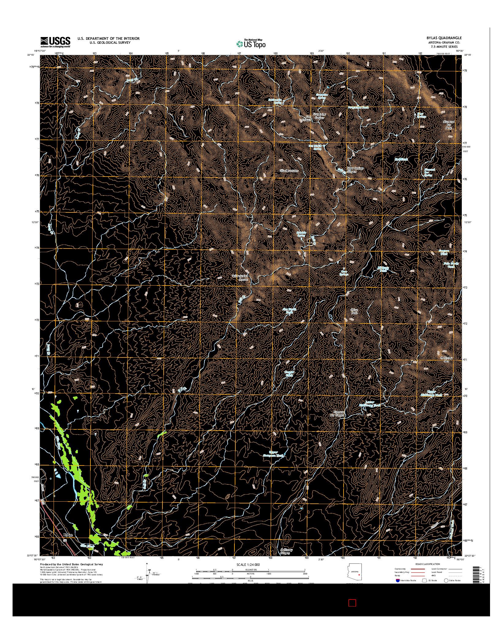 USGS US TOPO 7.5-MINUTE MAP FOR BYLAS, AZ 2014