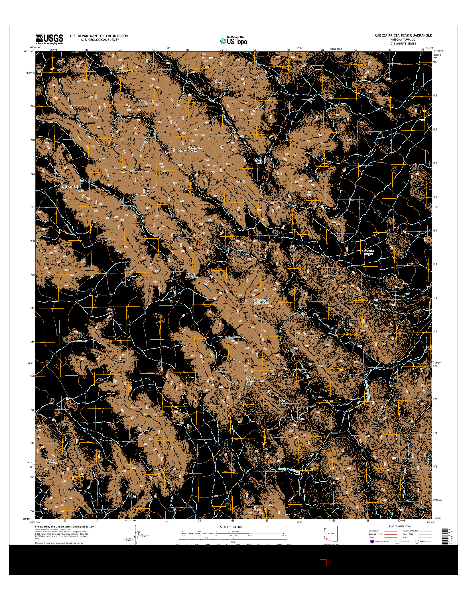 USGS US TOPO 7.5-MINUTE MAP FOR CABEZA PRIETA PEAK, AZ 2014
