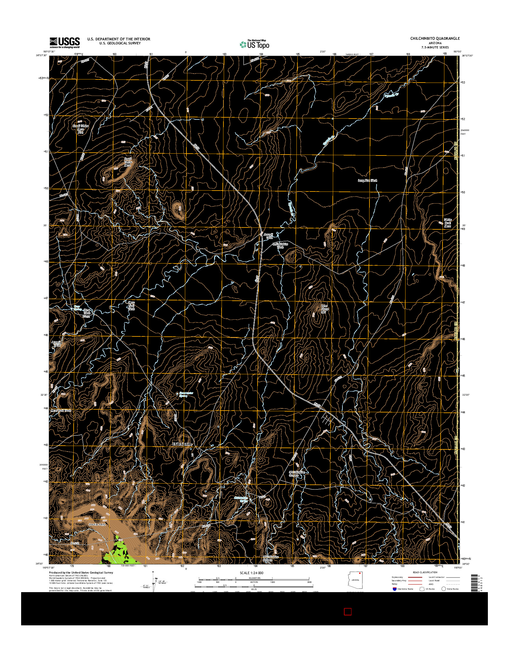 USGS US TOPO 7.5-MINUTE MAP FOR CHILCHINBITO, AZ 2014