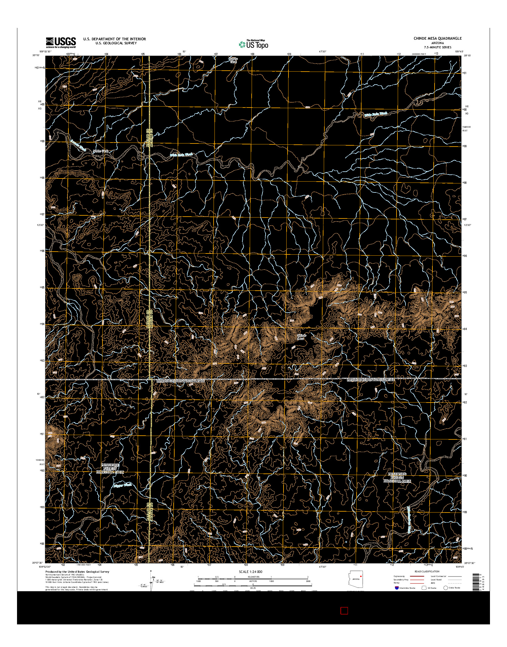 USGS US TOPO 7.5-MINUTE MAP FOR CHINDE MESA, AZ 2014