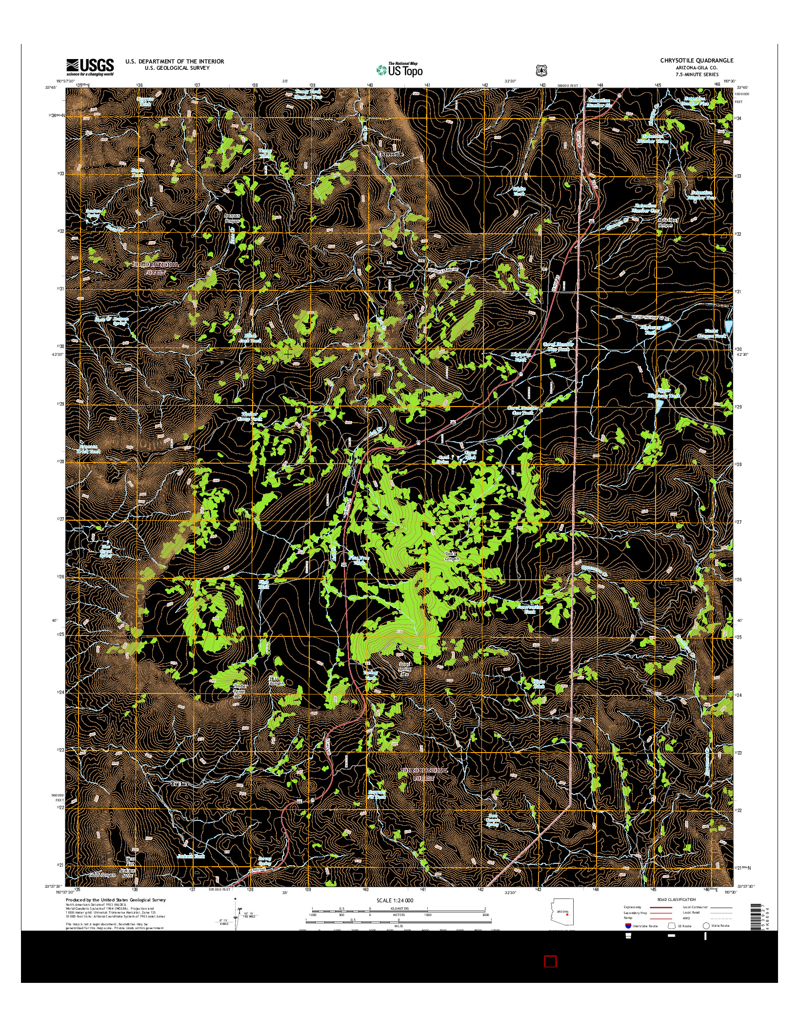 USGS US TOPO 7.5-MINUTE MAP FOR CHRYSOTILE, AZ 2014