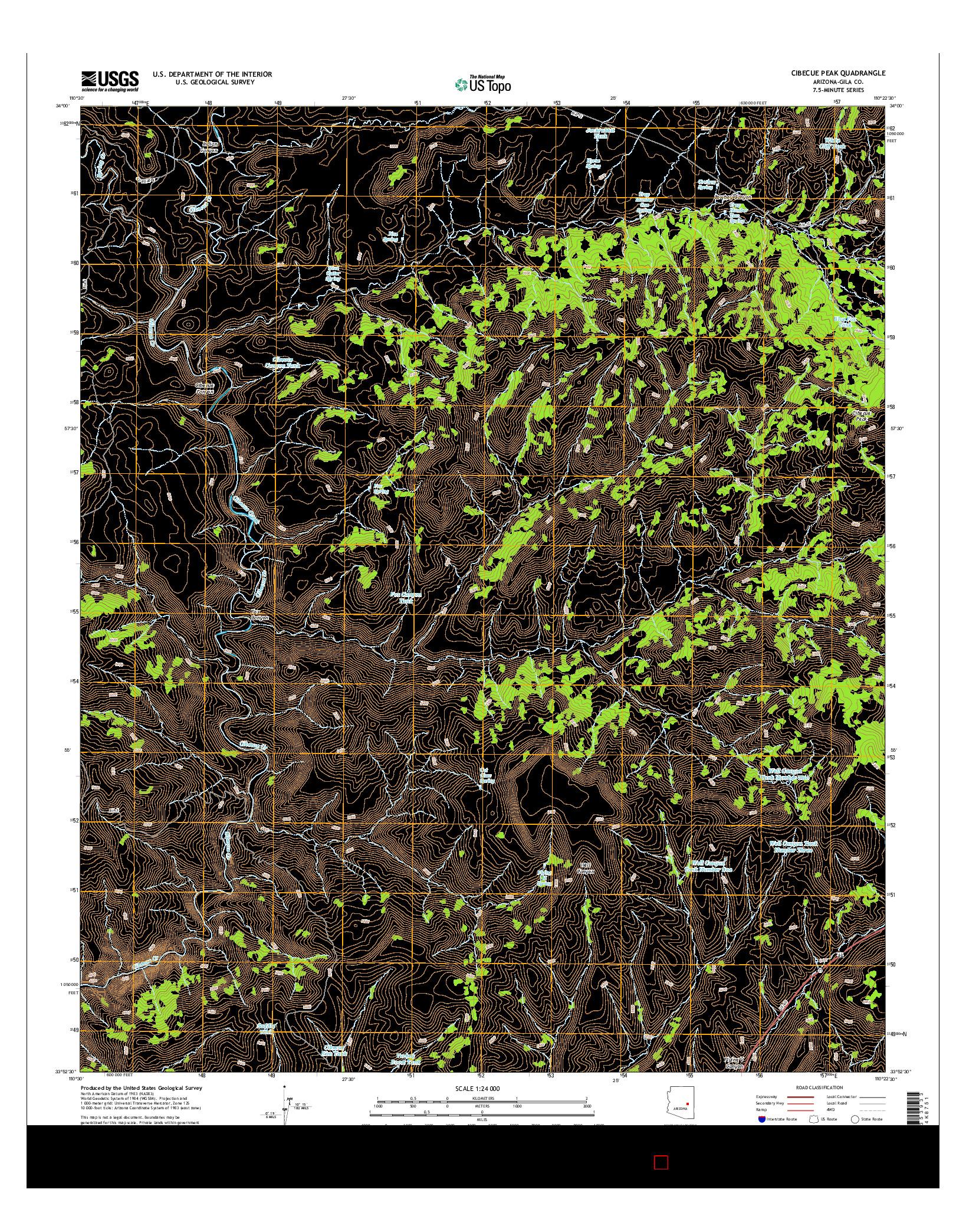 USGS US TOPO 7.5-MINUTE MAP FOR CIBECUE PEAK, AZ 2014