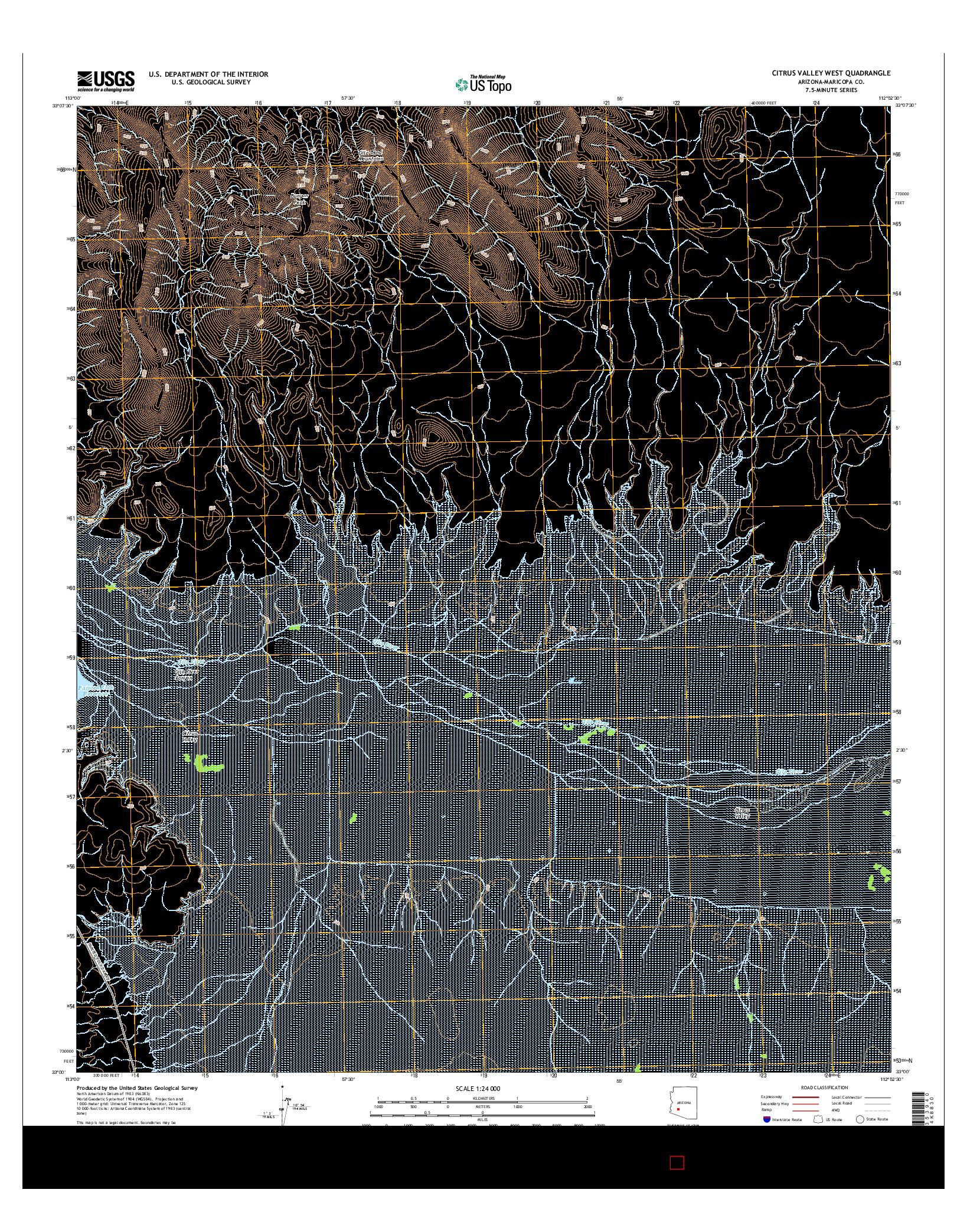USGS US TOPO 7.5-MINUTE MAP FOR CITRUS VALLEY WEST, AZ 2014