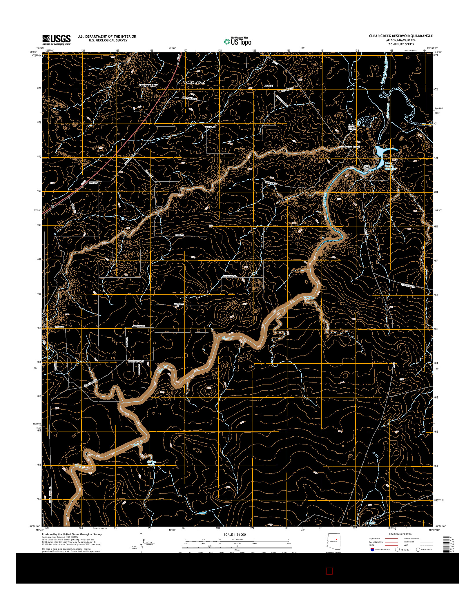USGS US TOPO 7.5-MINUTE MAP FOR CLEAR CREEK RESERVOIR, AZ 2014