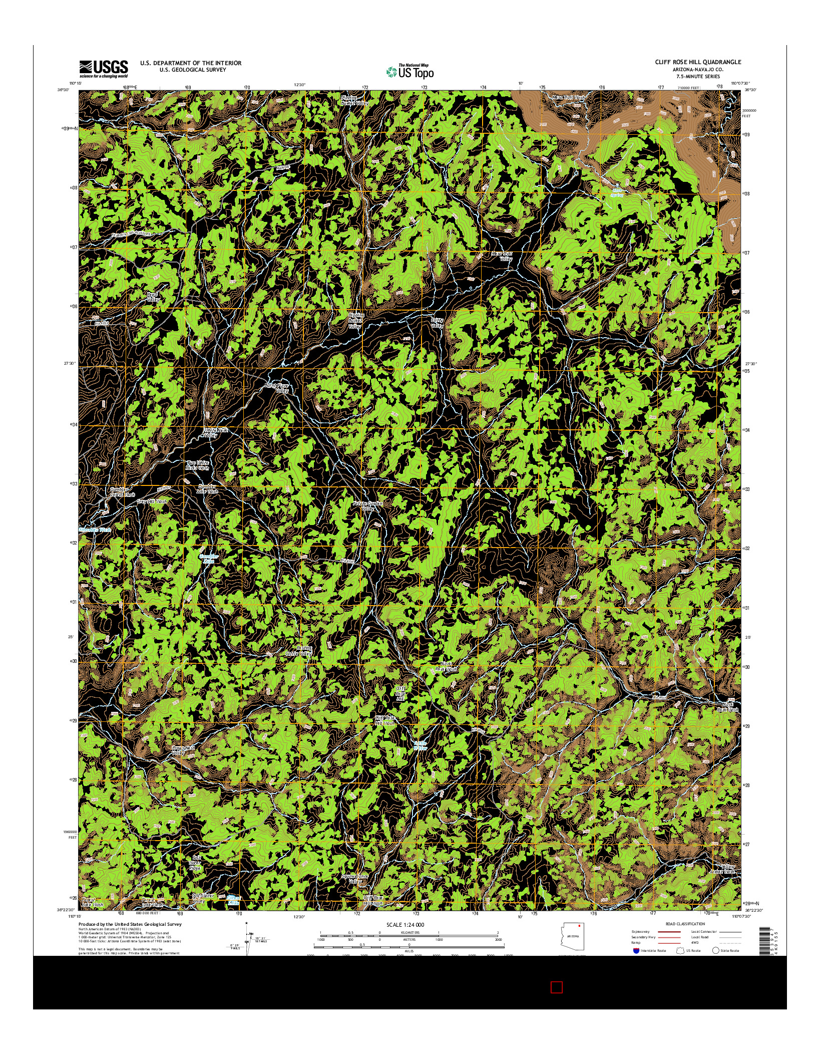 USGS US TOPO 7.5-MINUTE MAP FOR CLIFF ROSE HILL, AZ 2014