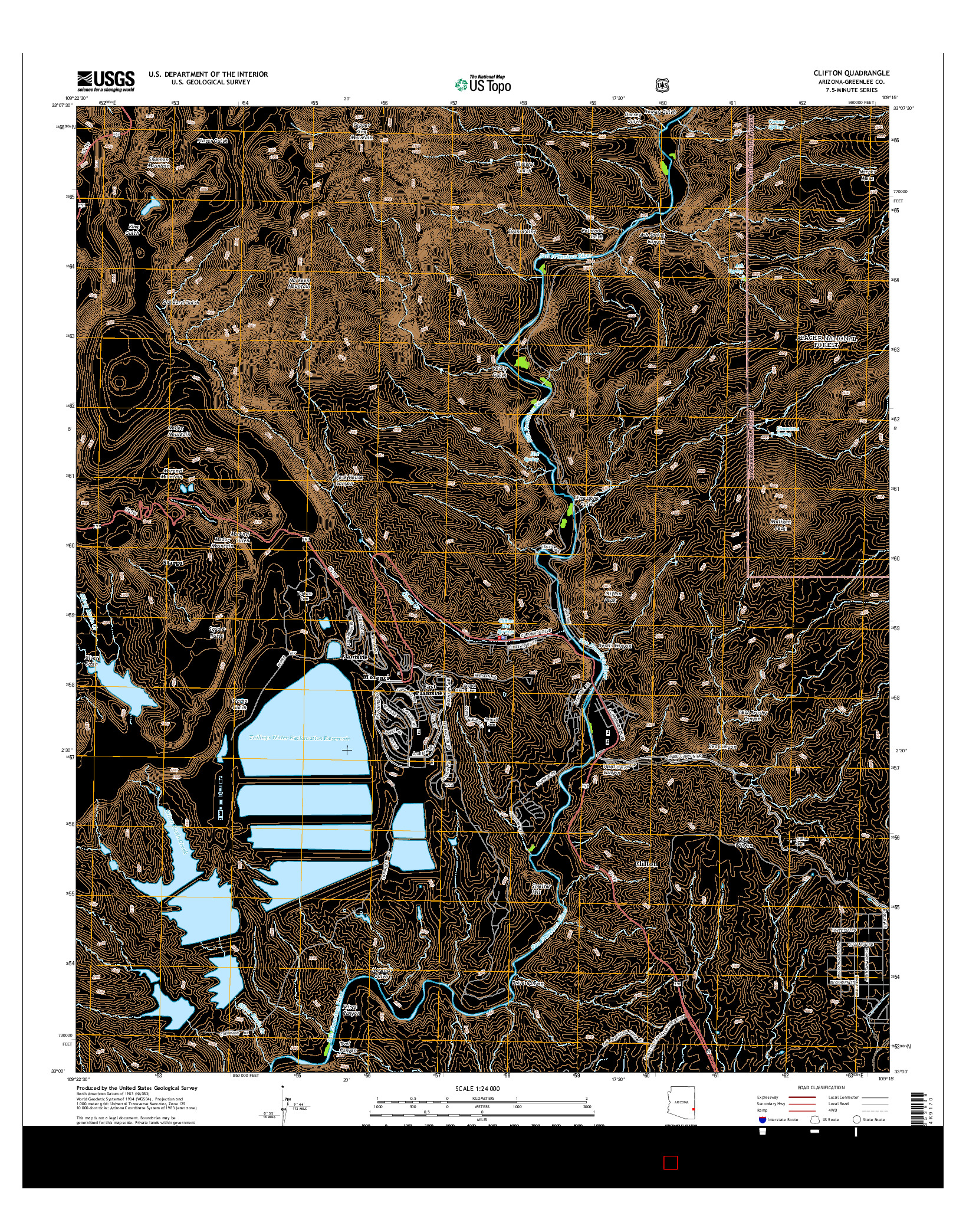 USGS US TOPO 7.5-MINUTE MAP FOR CLIFTON, AZ 2014
