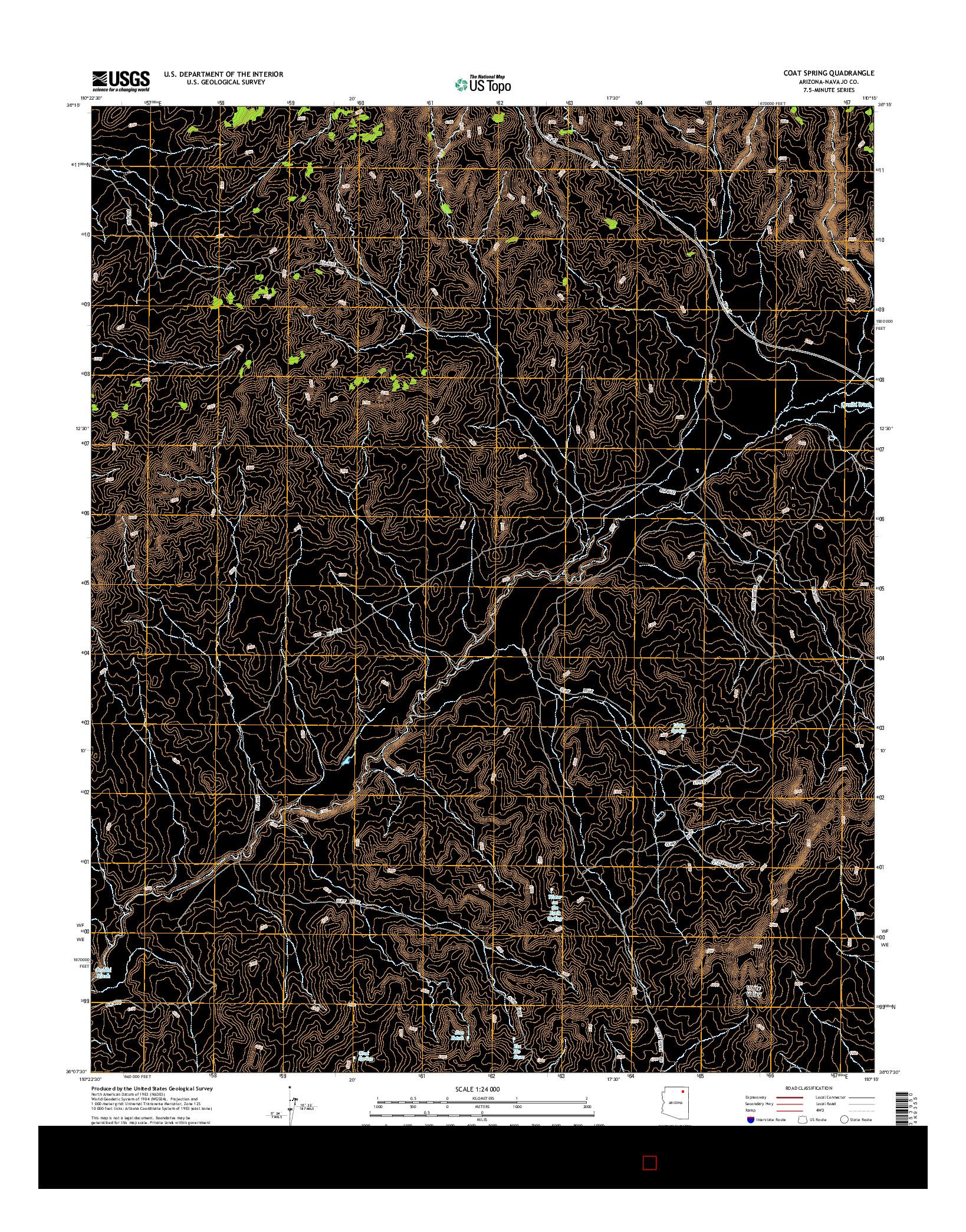 USGS US TOPO 7.5-MINUTE MAP FOR COAT SPRING, AZ 2014