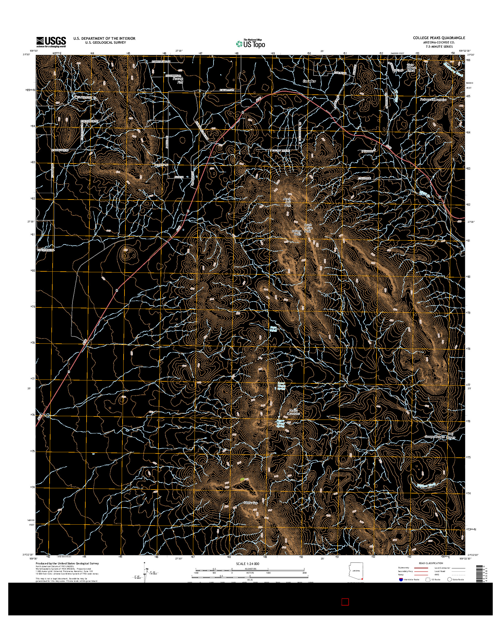 USGS US TOPO 7.5-MINUTE MAP FOR COLLEGE PEAKS, AZ 2014