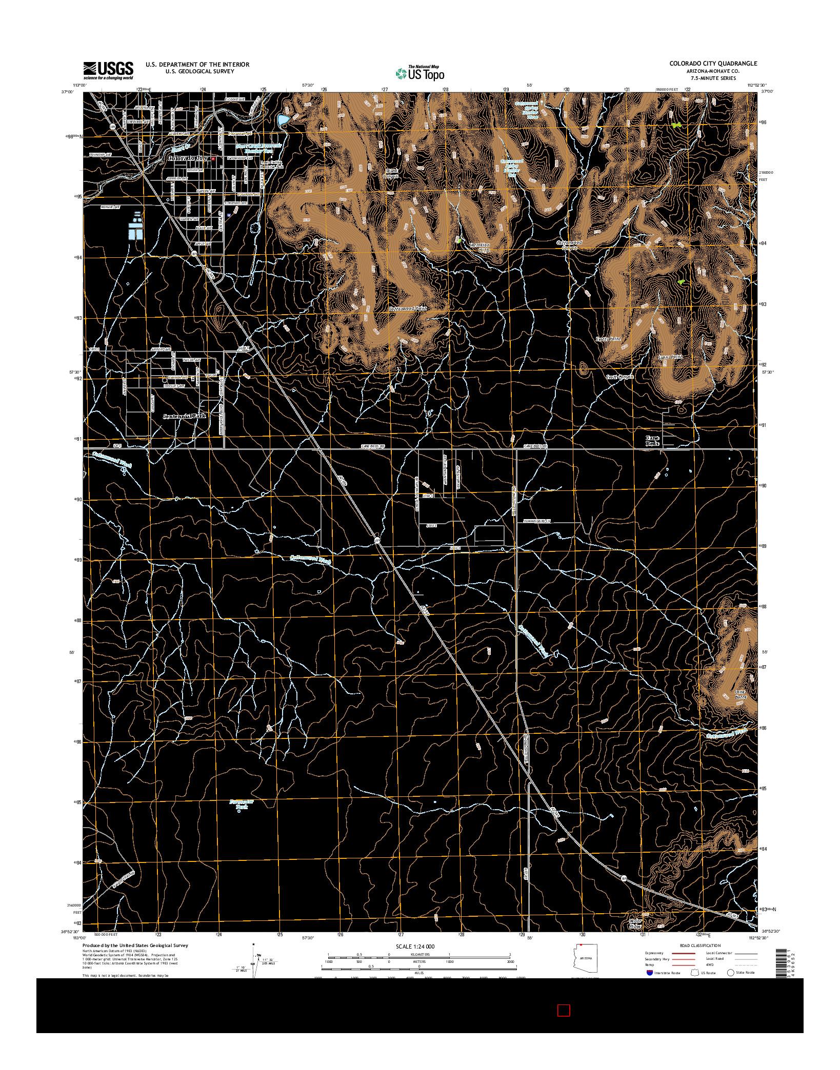 USGS US TOPO 7.5-MINUTE MAP FOR COLORADO CITY, AZ 2014