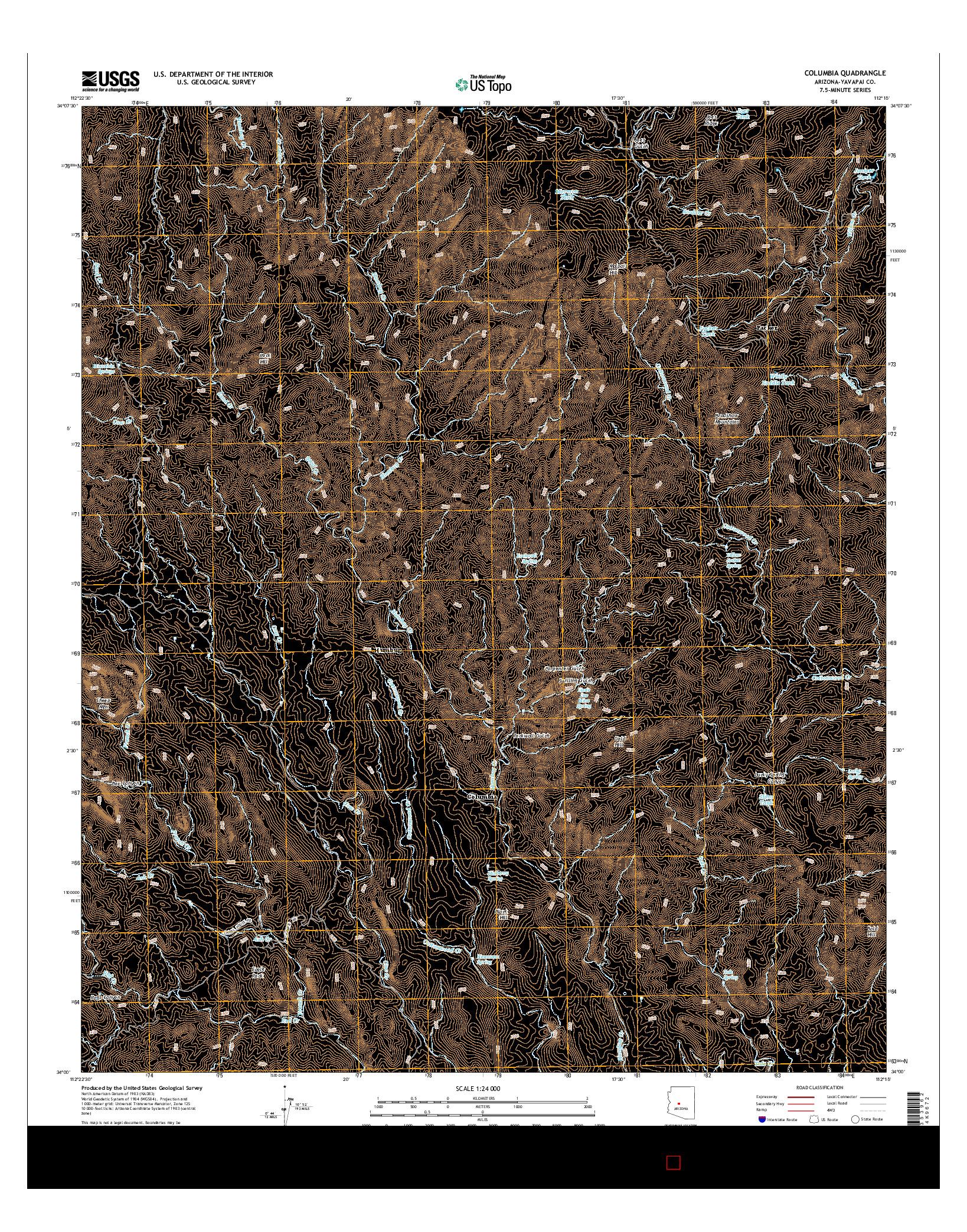 USGS US TOPO 7.5-MINUTE MAP FOR COLUMBIA, AZ 2014