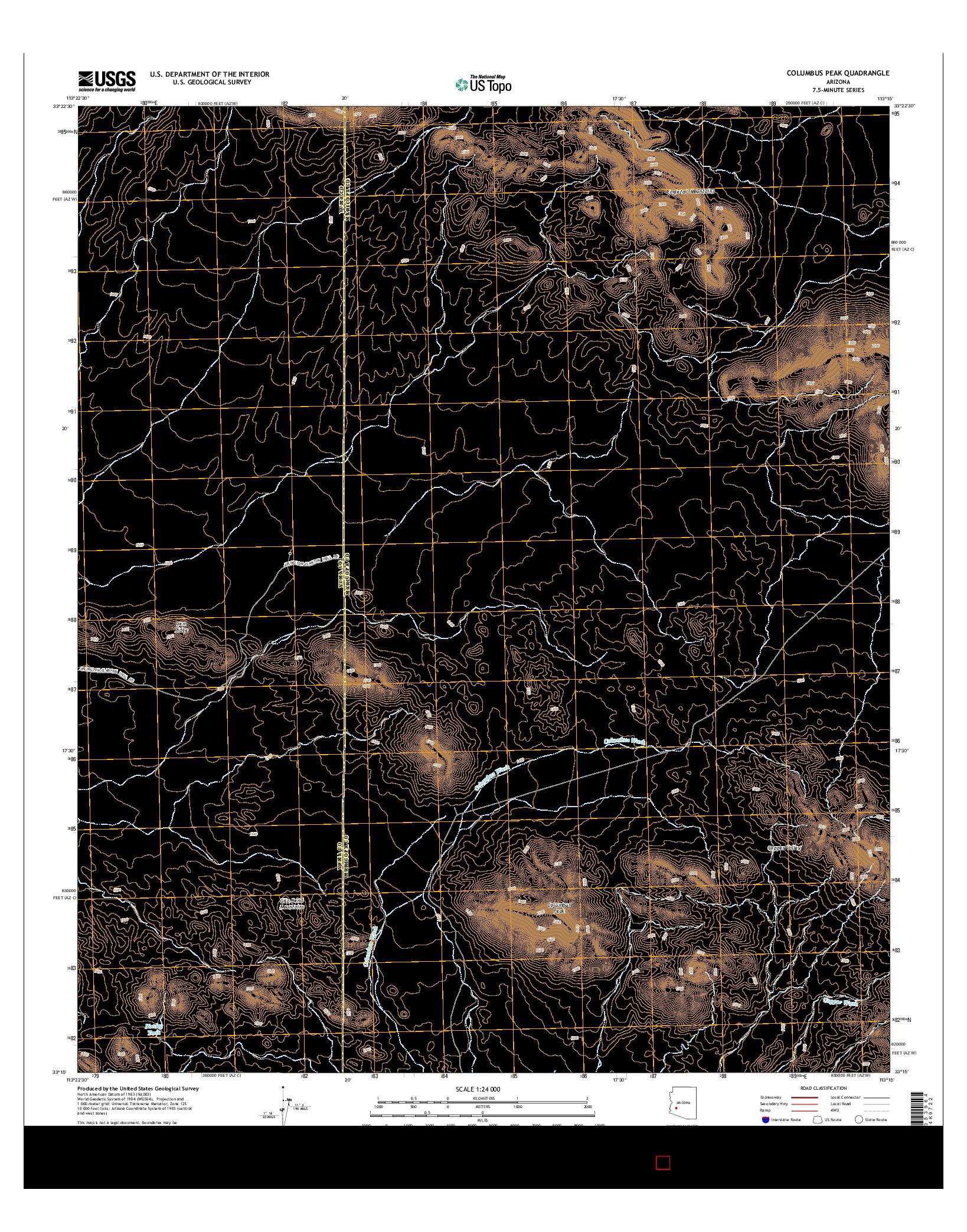 USGS US TOPO 7.5-MINUTE MAP FOR COLUMBUS PEAK, AZ 2014