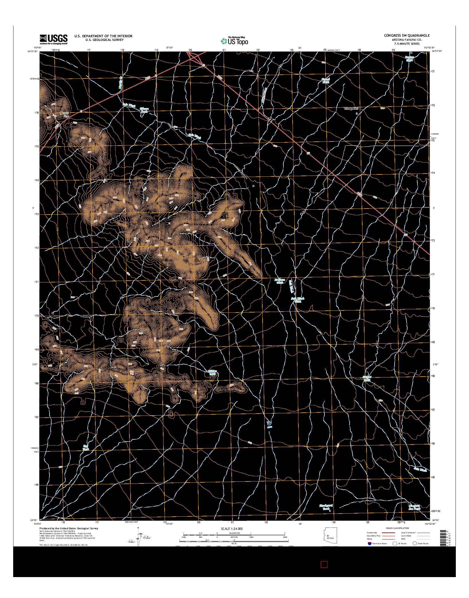 USGS US TOPO 7.5-MINUTE MAP FOR CONGRESS SW, AZ 2014