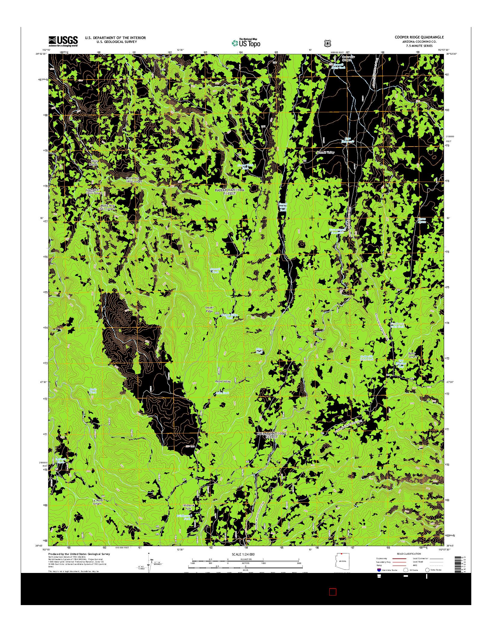 USGS US TOPO 7.5-MINUTE MAP FOR COOPER RIDGE, AZ 2014